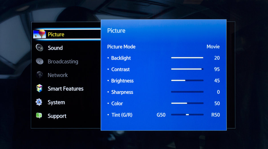 Samsung's menu interface is simple to use, but provides plenty of options.