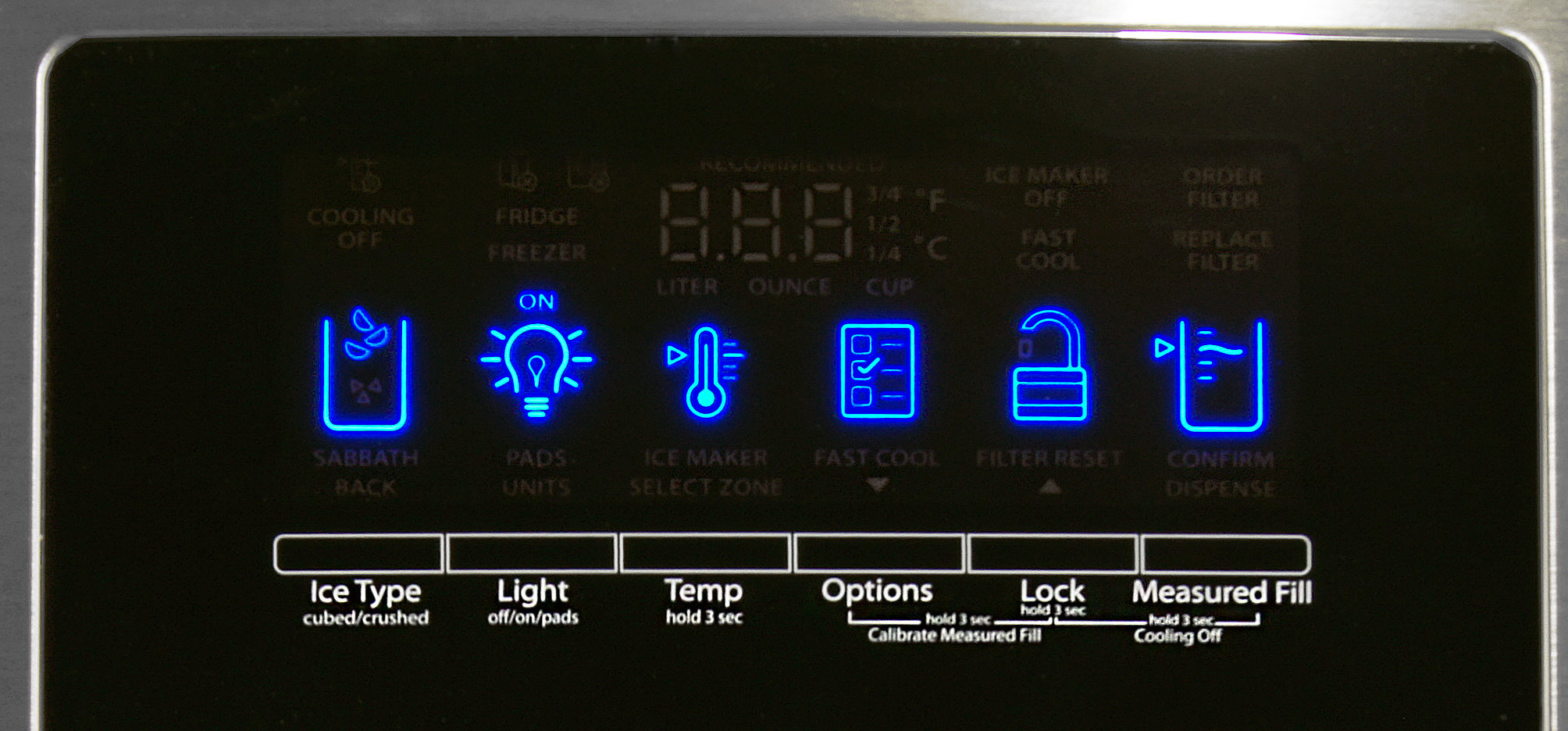 The Whirlpool WRX735SDBM's bright LED controls look great, but it's not a terribly fluid interface.