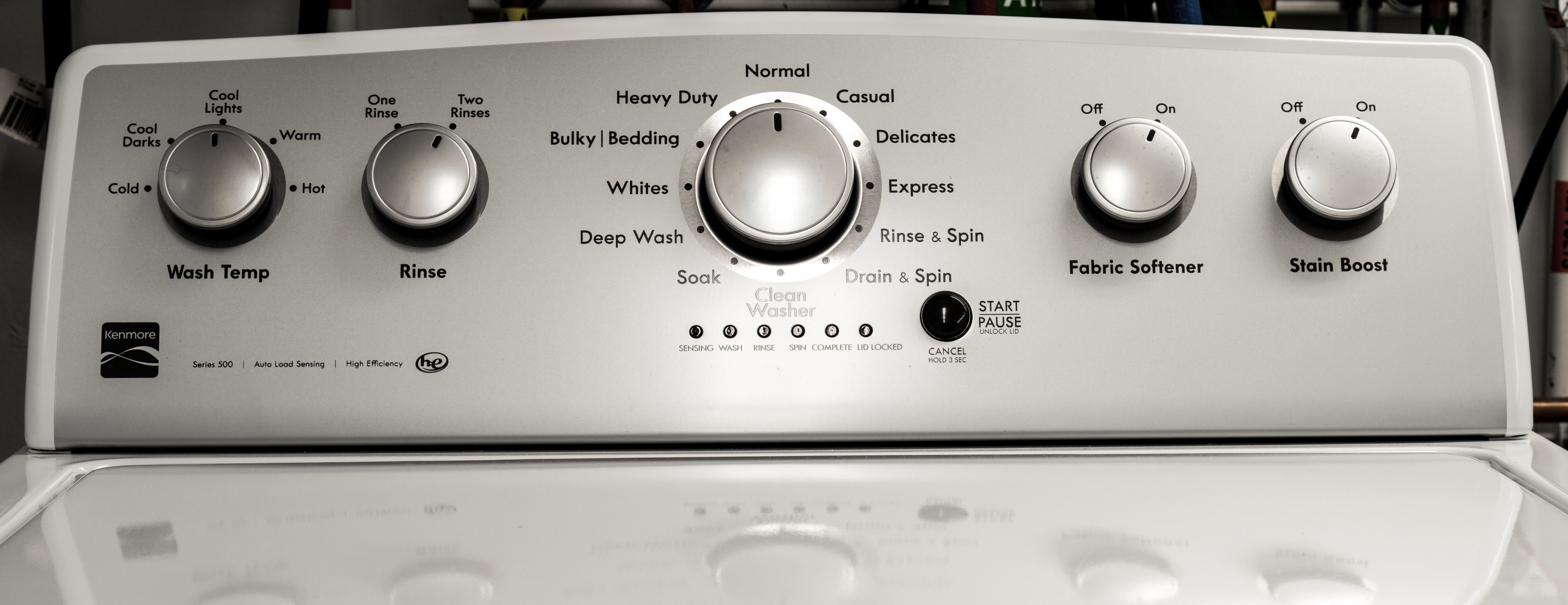 kenmore washing machine panel