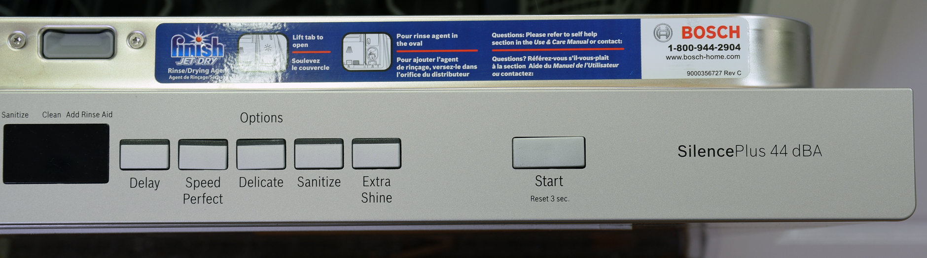 The right side of the Bosch SHP65TL5UC's control panel
