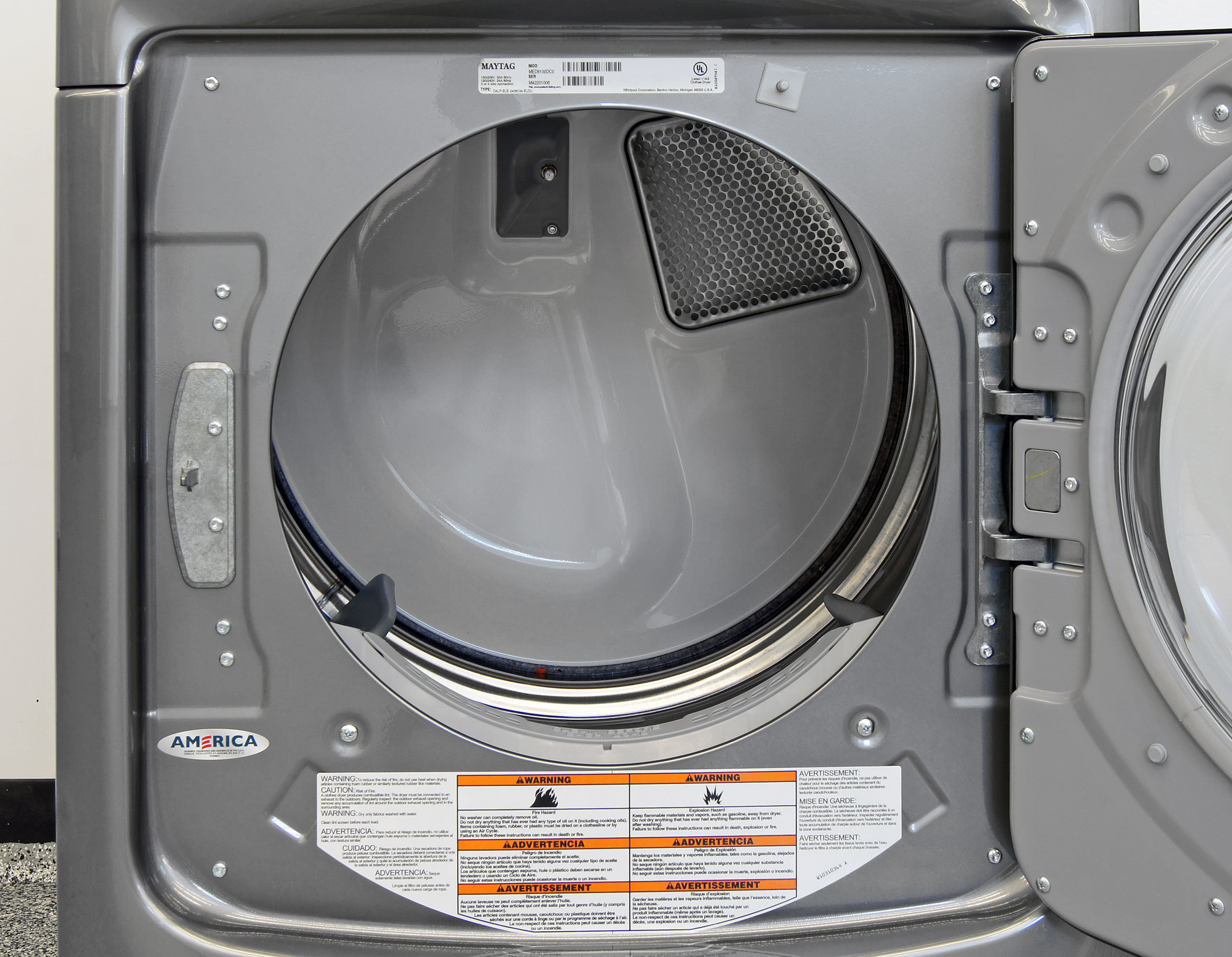 The Maytag Maxima MED8100DC's stainless interior has a 7.4-cubic-foot capacity.
