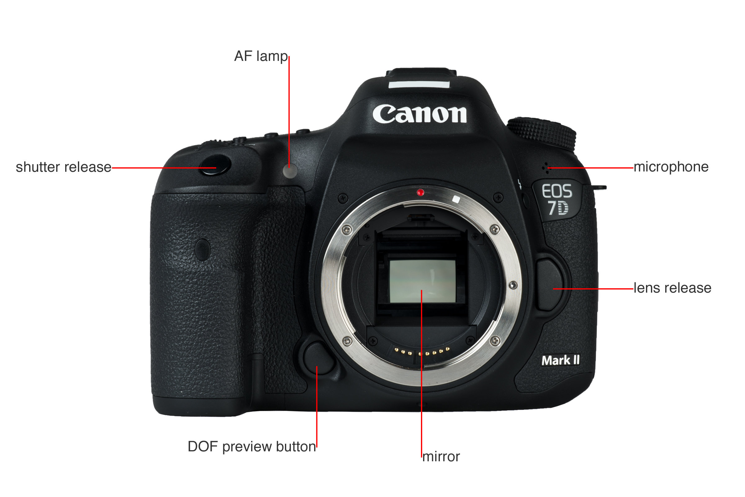 A picture illustrating the buttons and controls of the Canon 7D MkII's front.