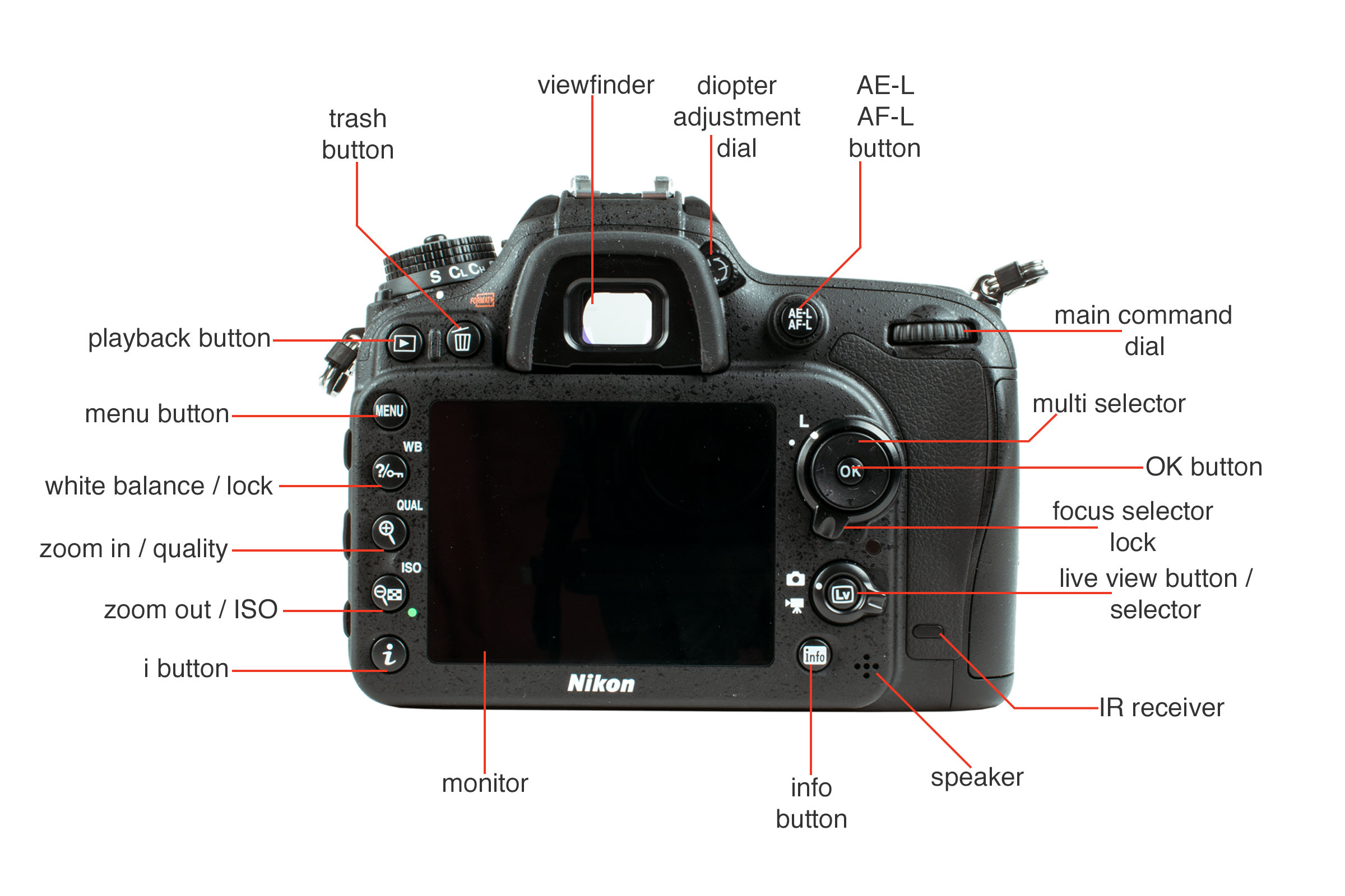 Rear view of the Nikon D7200.