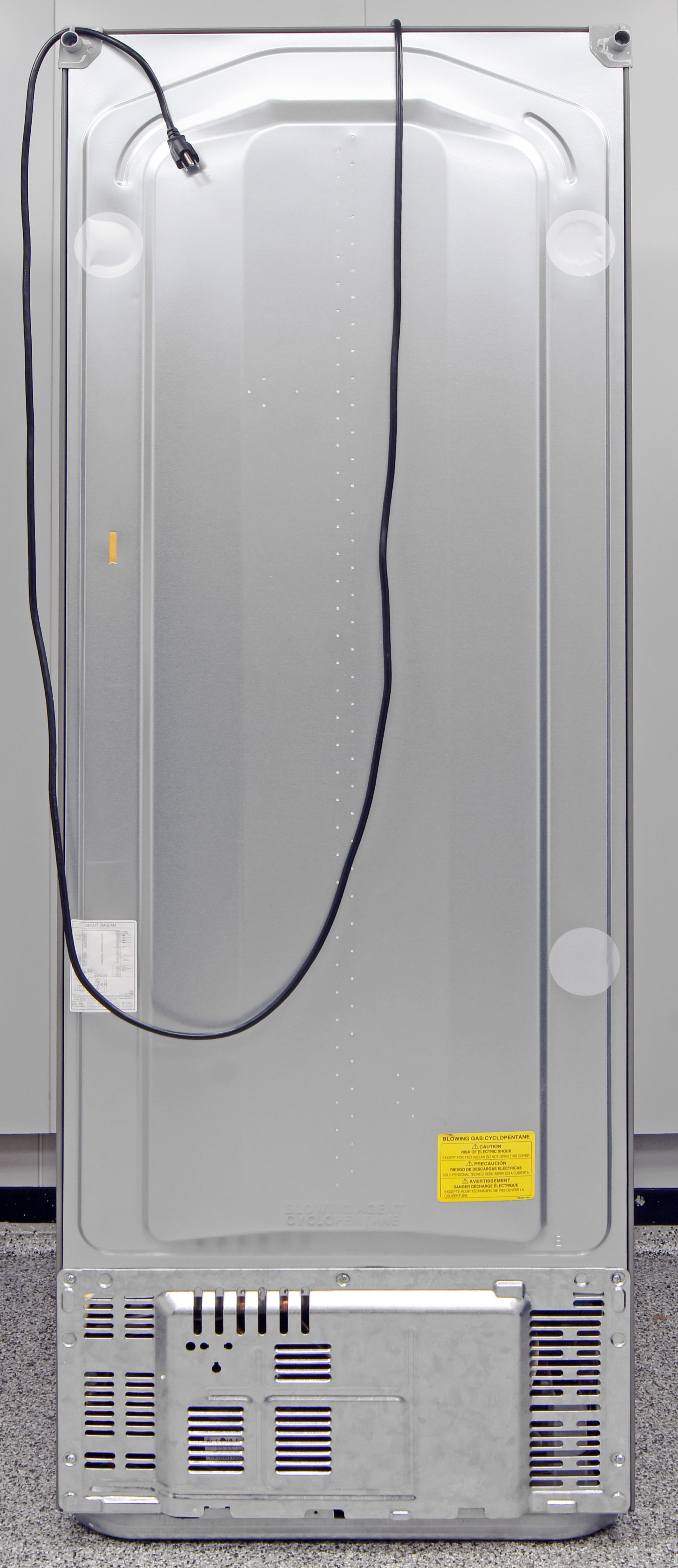 Without an icemaker, the only thing of interest in the back of the LG LBN10551PV is the power cord.