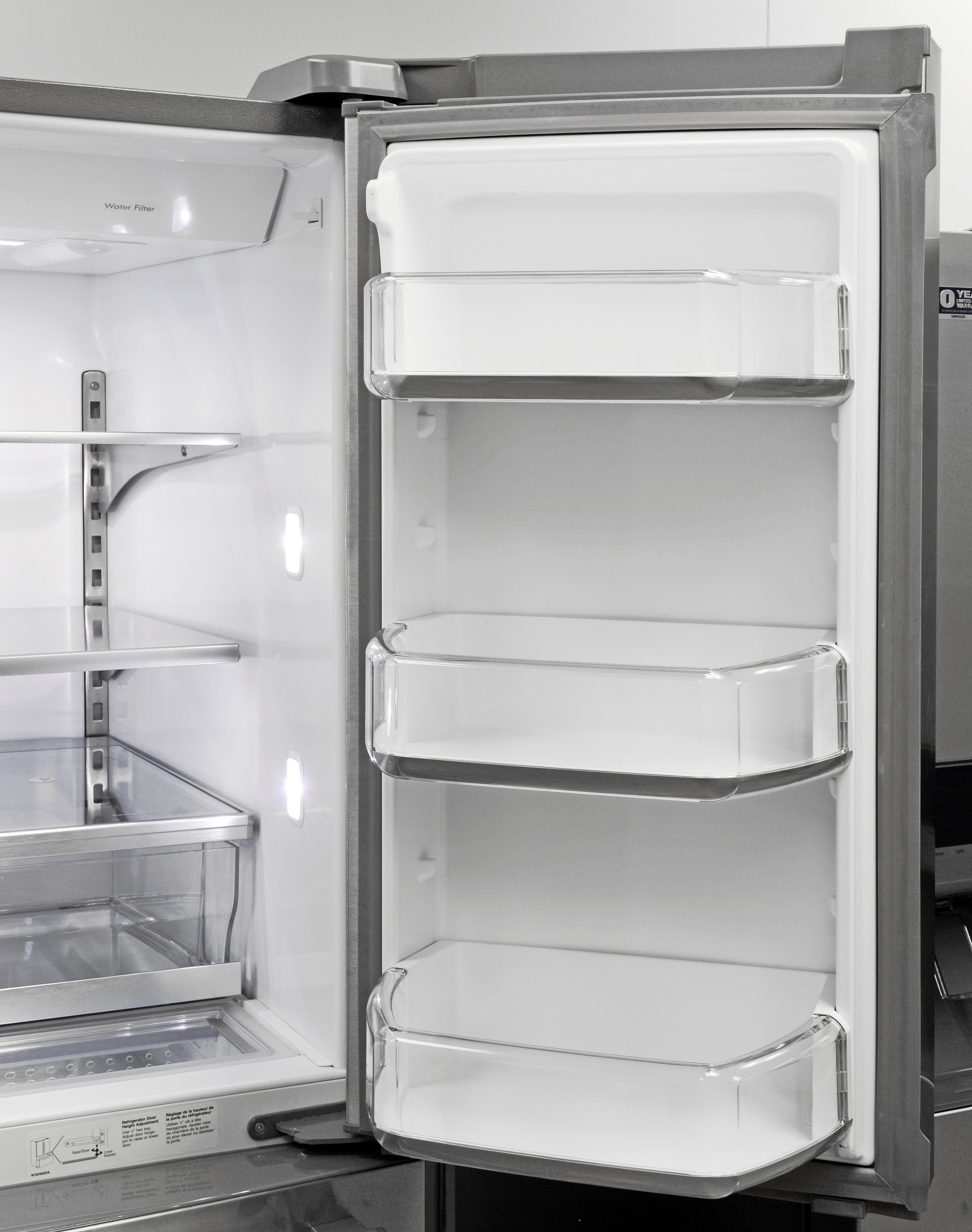 The Maytag MFX2876DRM's right door has plenty of gallon-sized storage for milk and juice.