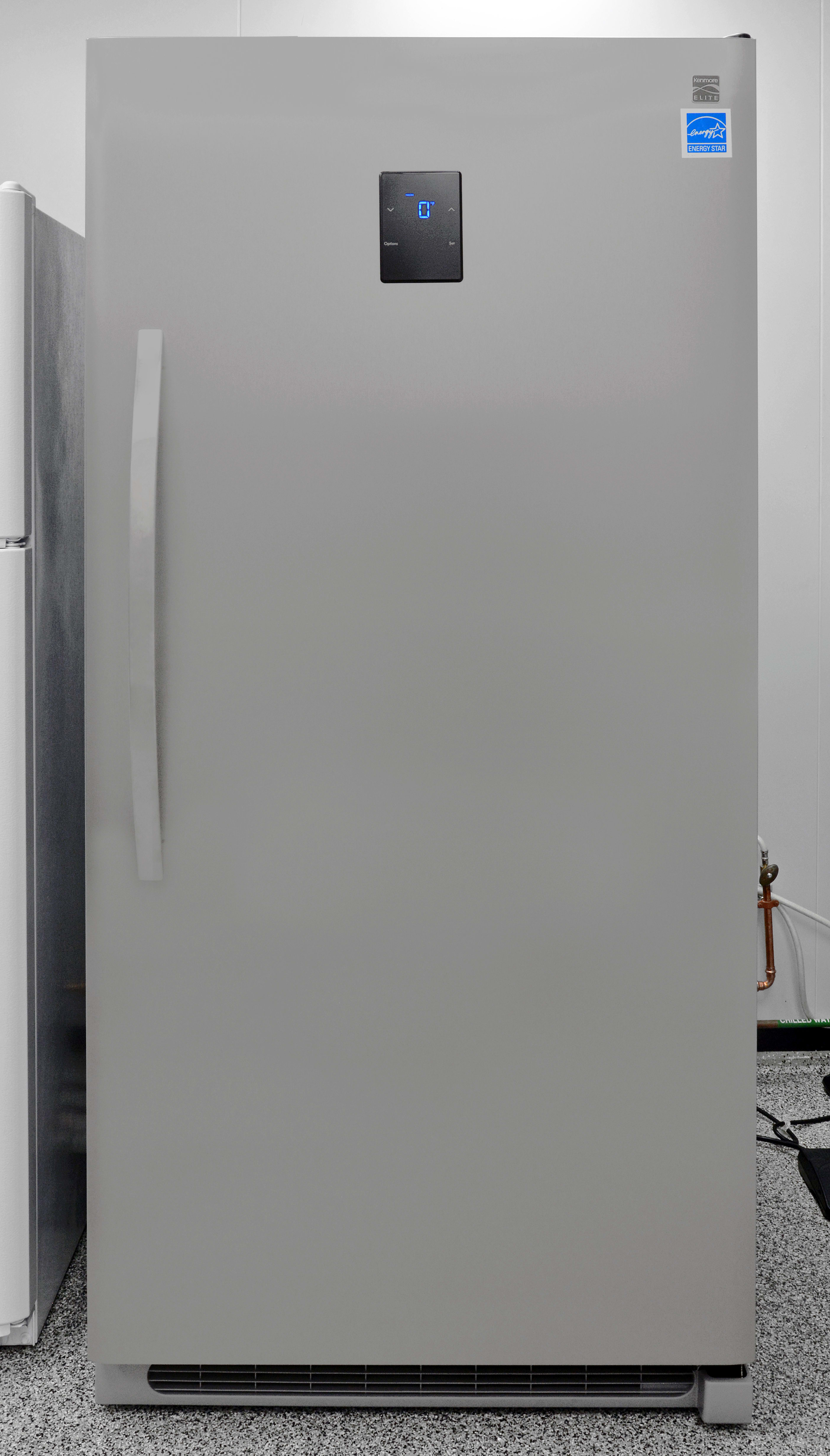 The outside of the Kenmore Elite 27003 is an expanse of stainless steel.
