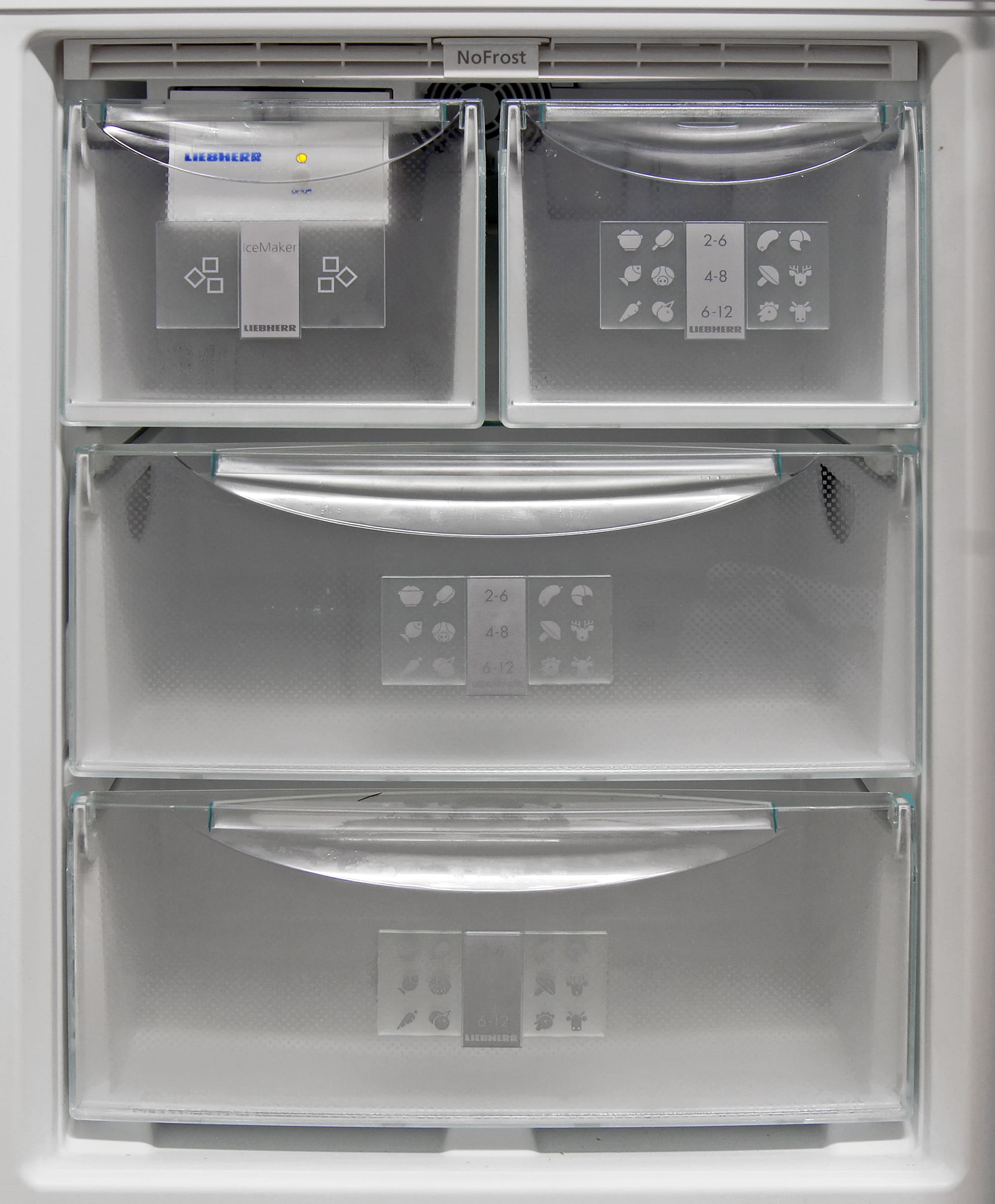 Assorted drawers are all removable, with glass shelves hidden between each level inside the Liebherr CS1360's freezer for alternative storage options