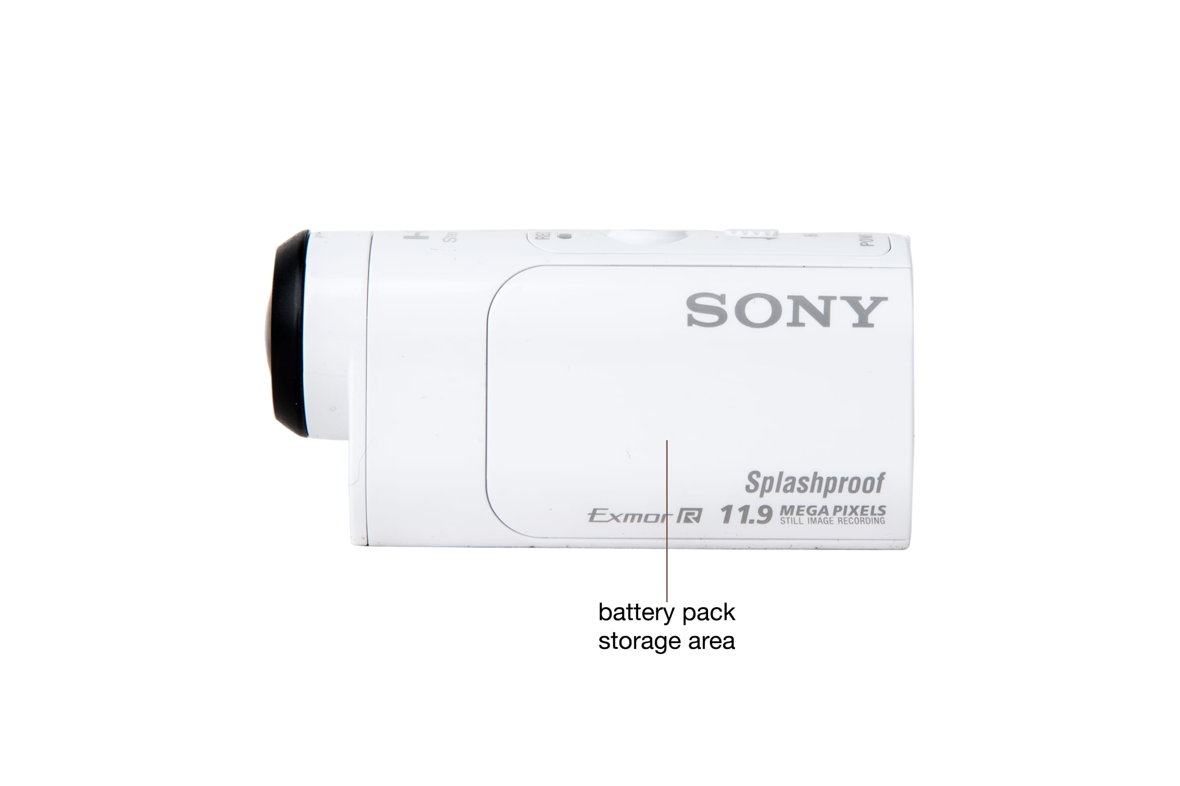 Side view of the Sony HDR-AZ1 action cam.