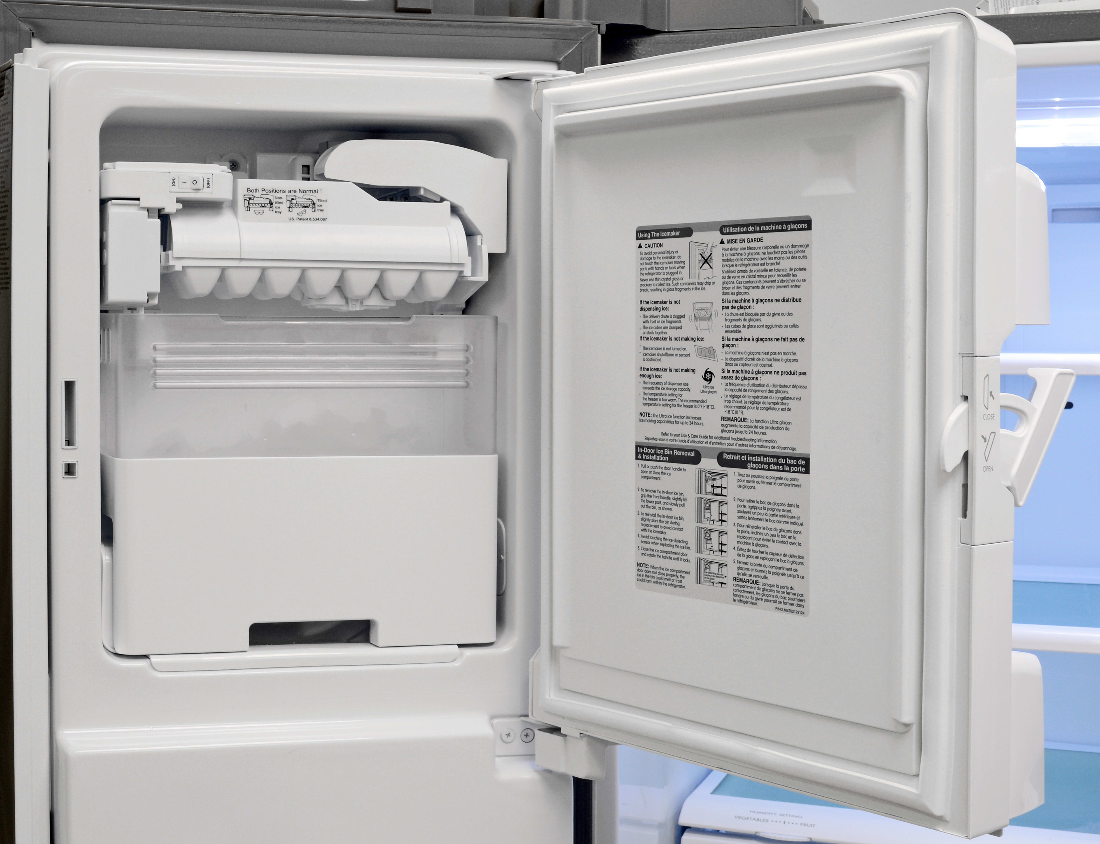 The Kenmore 70333's door-mounted icemaker is both capacious and efficiently hidden away.