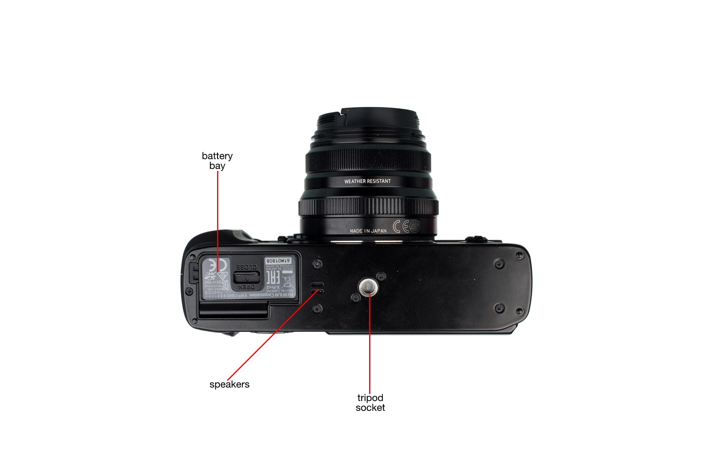 Bottom view of the Fujifilm X-Pro2.