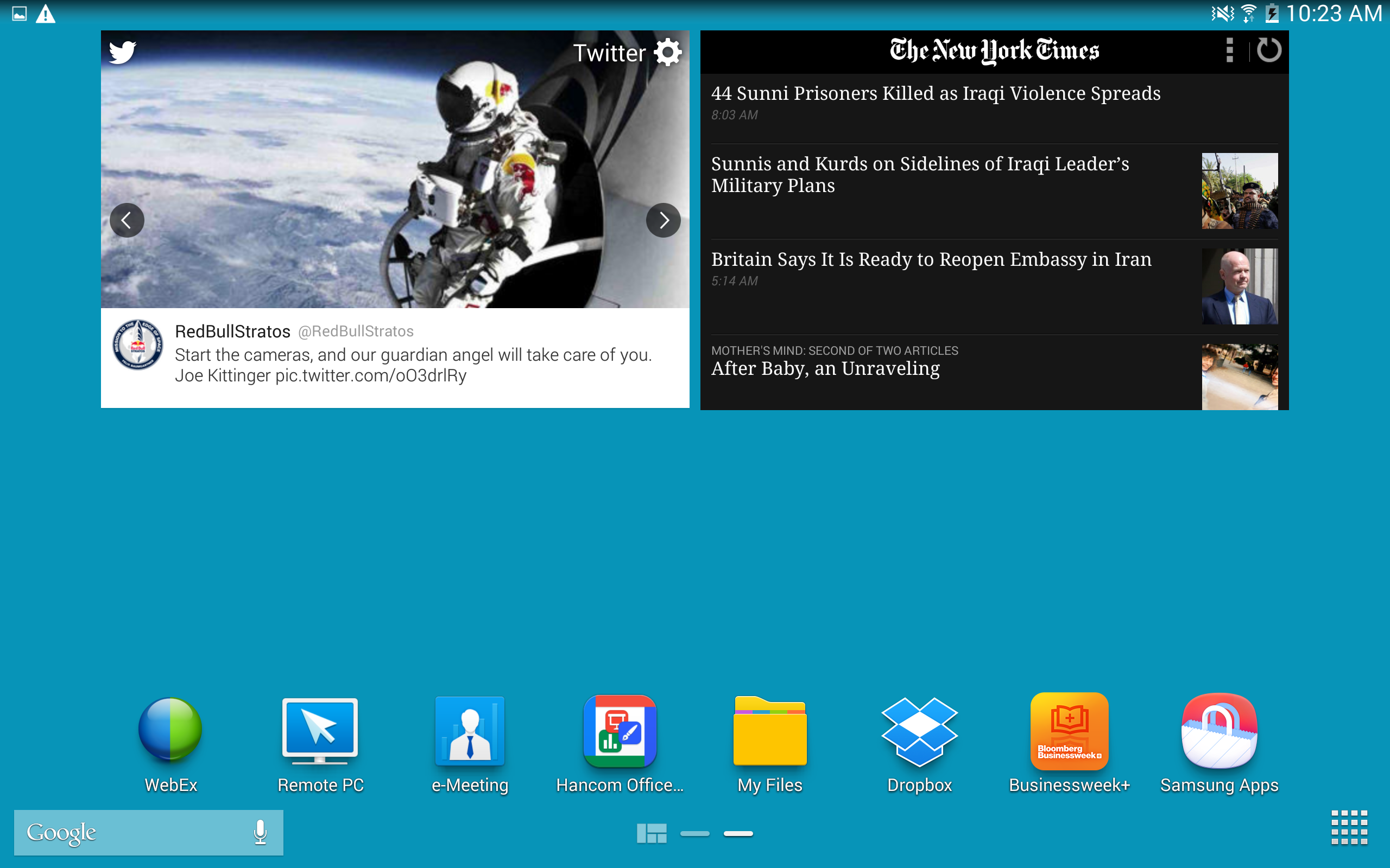 A screenshot of the Samsung Galaxy Note Pro's home screen.