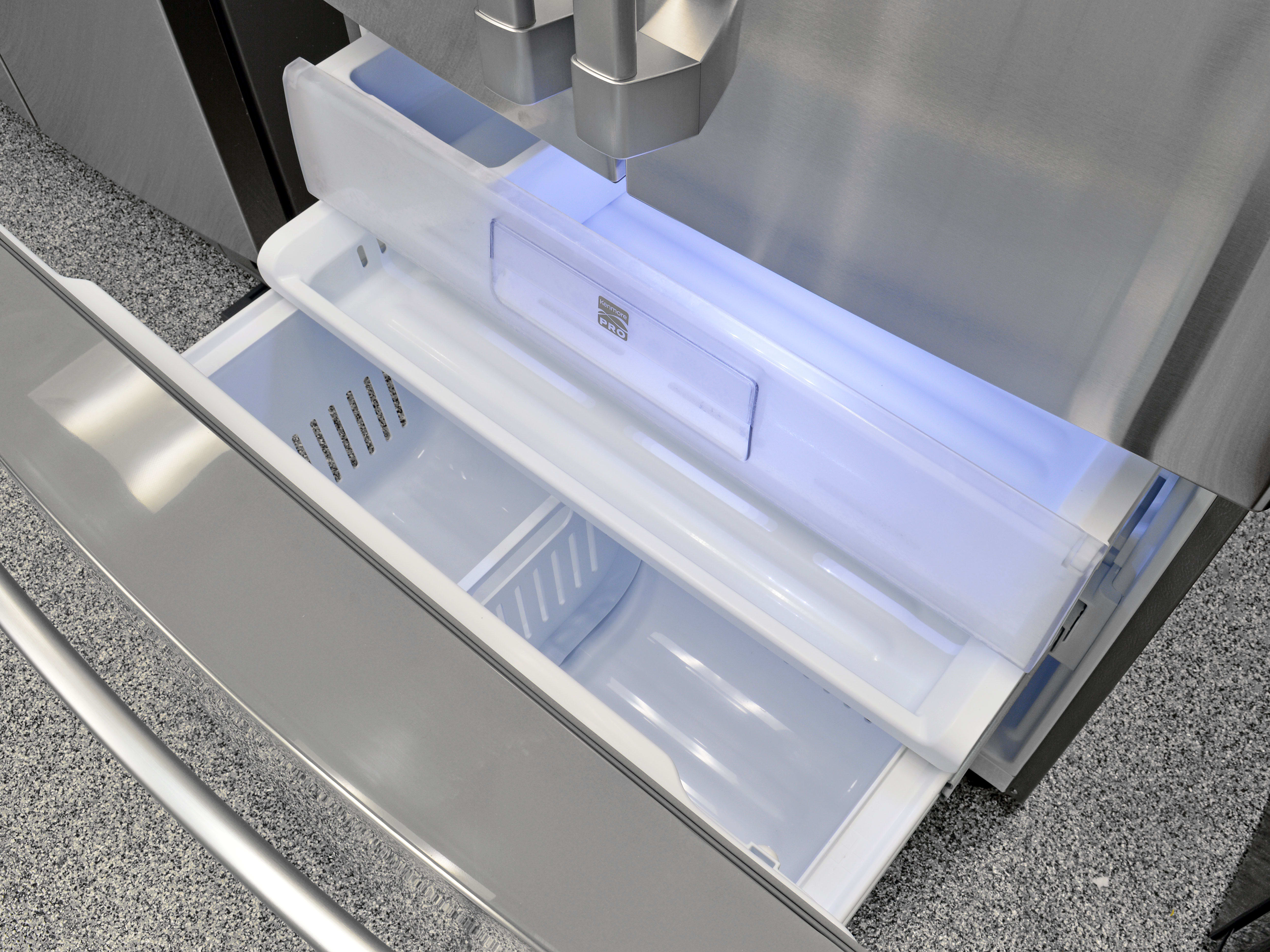 The Kenmore Pro 79993's pullout freezer feels a bit shallow, but that's true for all counter depth French door models.