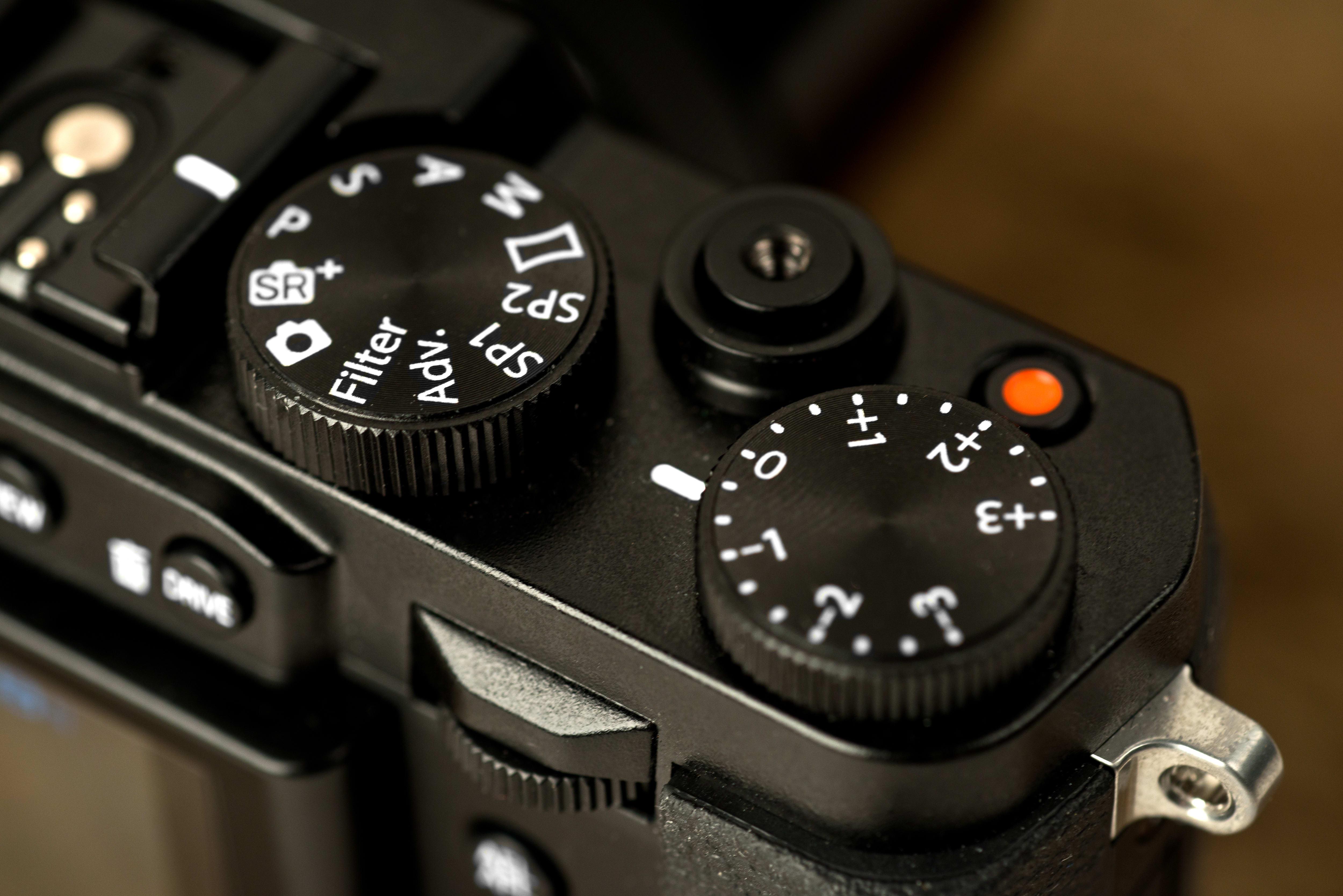 A photo of the Fujifilm X30's top controls.