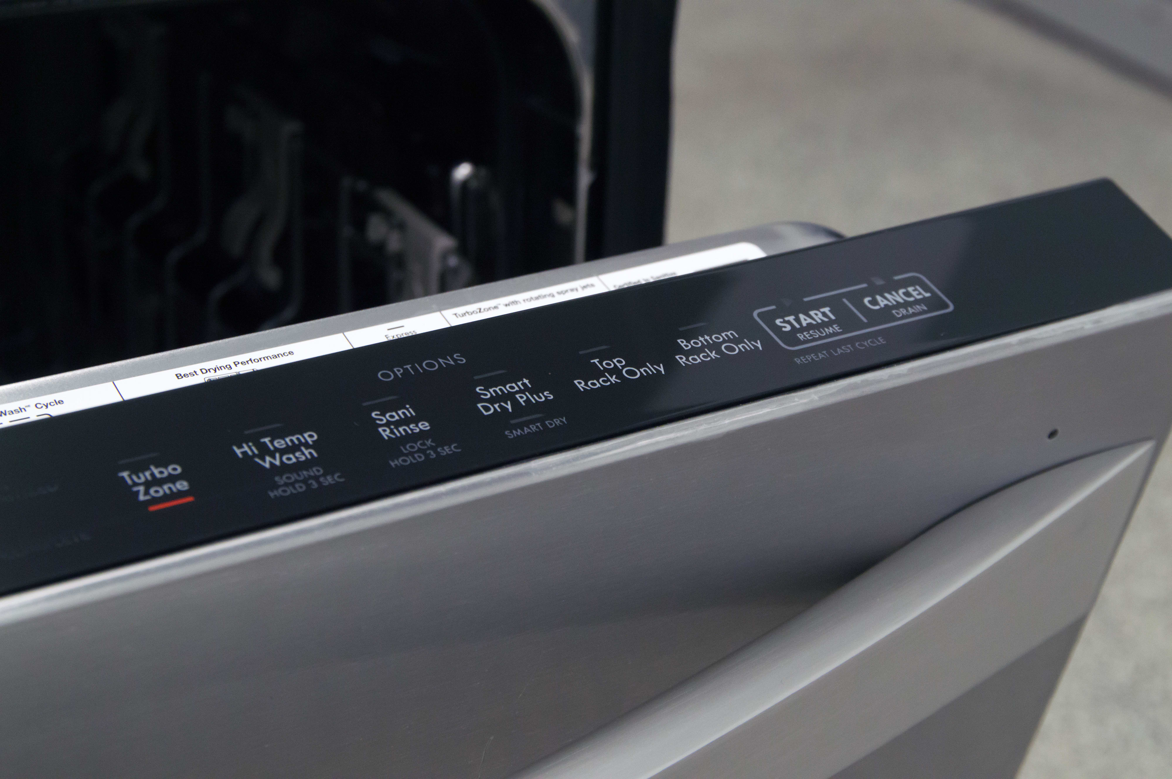 Right side of the control panel, showing extra wash options