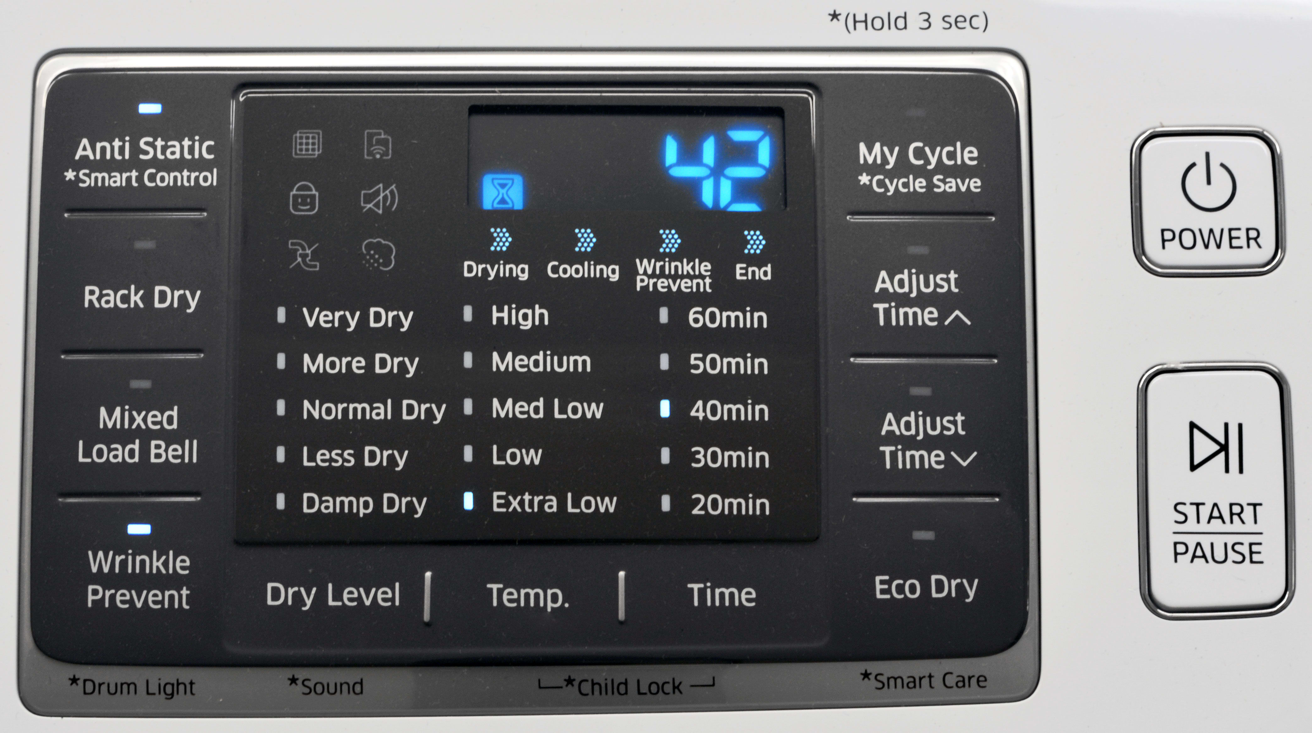 The Samsung DV50K7500's control panel is easy to read and very responsive, but it's not always clear which features work on which cycle.