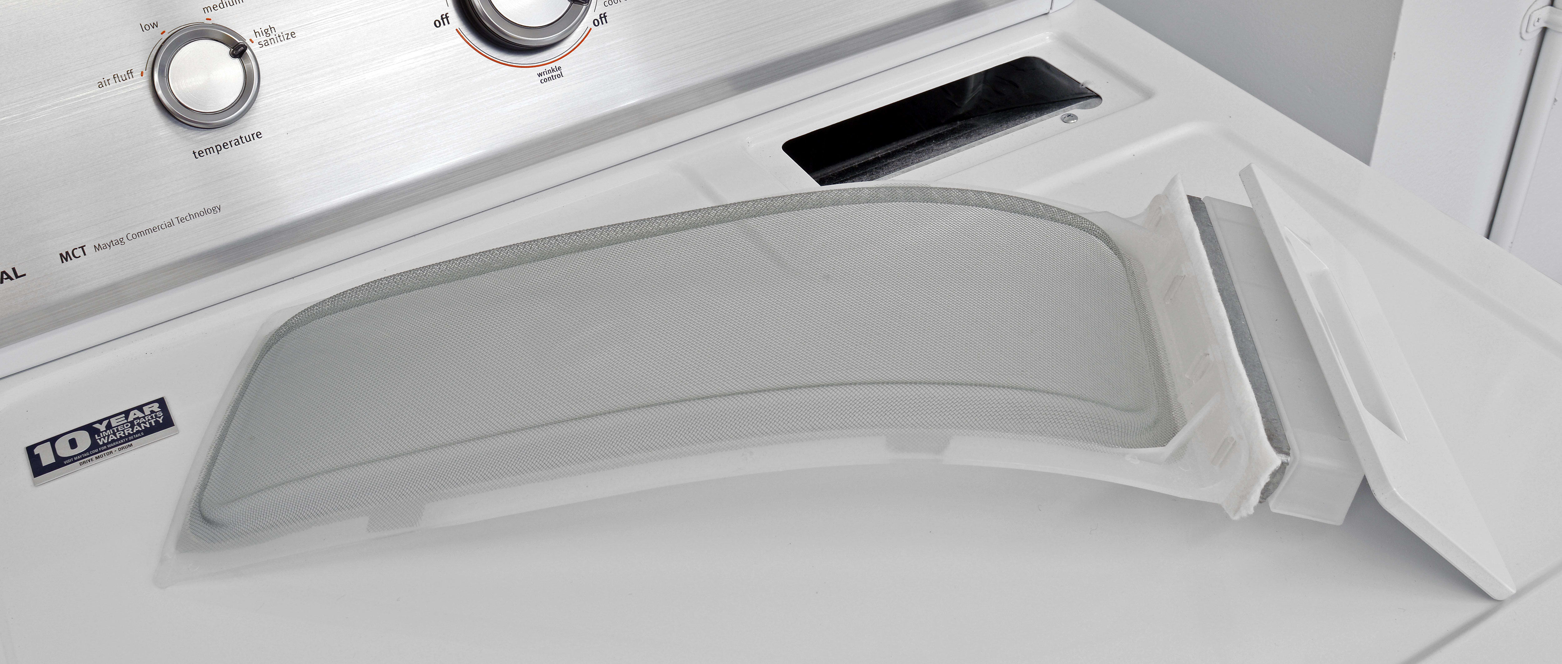 Pullout lint traps are very old school, and common on budget dryers like the Maytag Centennial MEDC415EW.