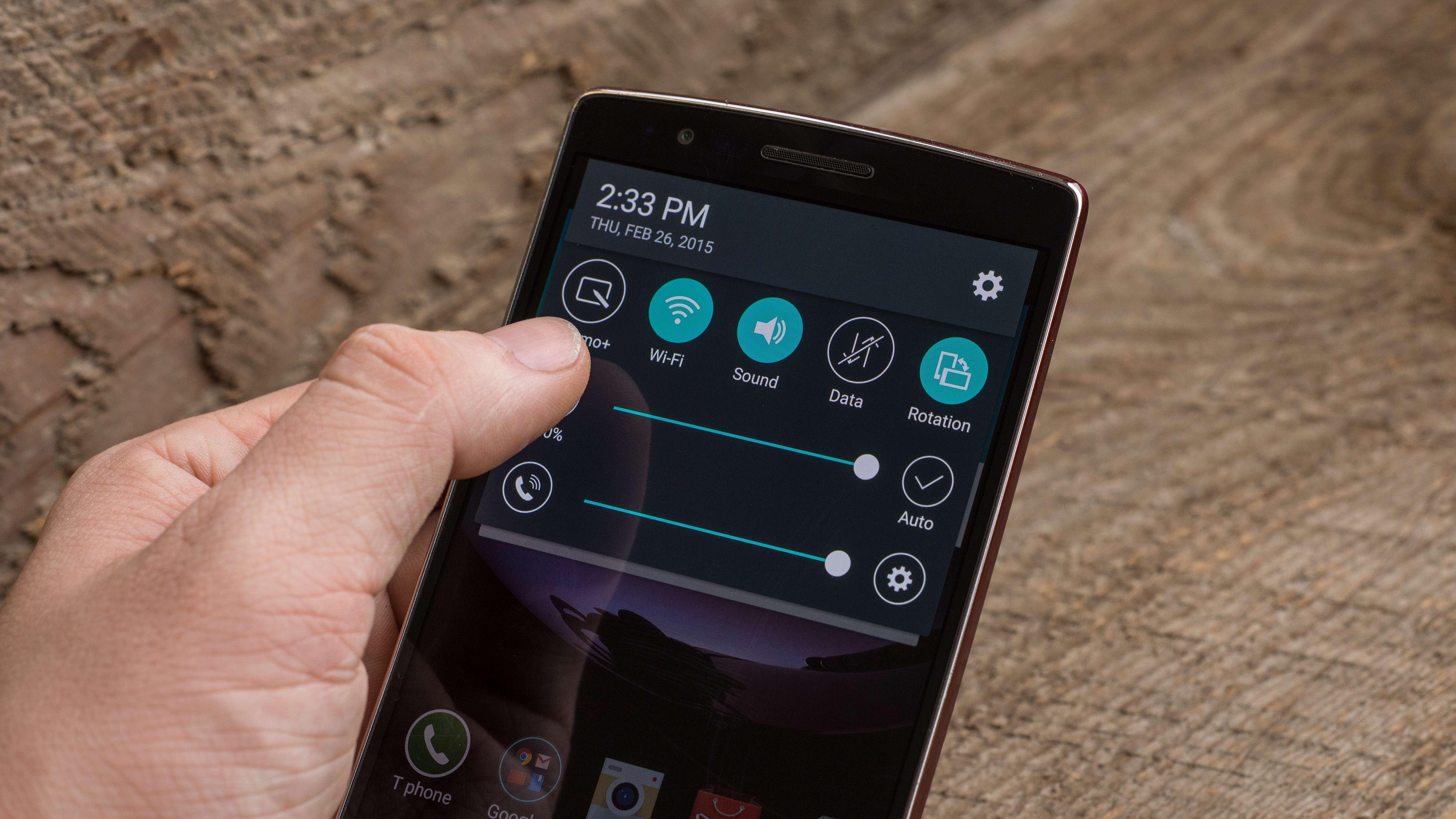 A photograph of the LG G Flex 2's power menu.