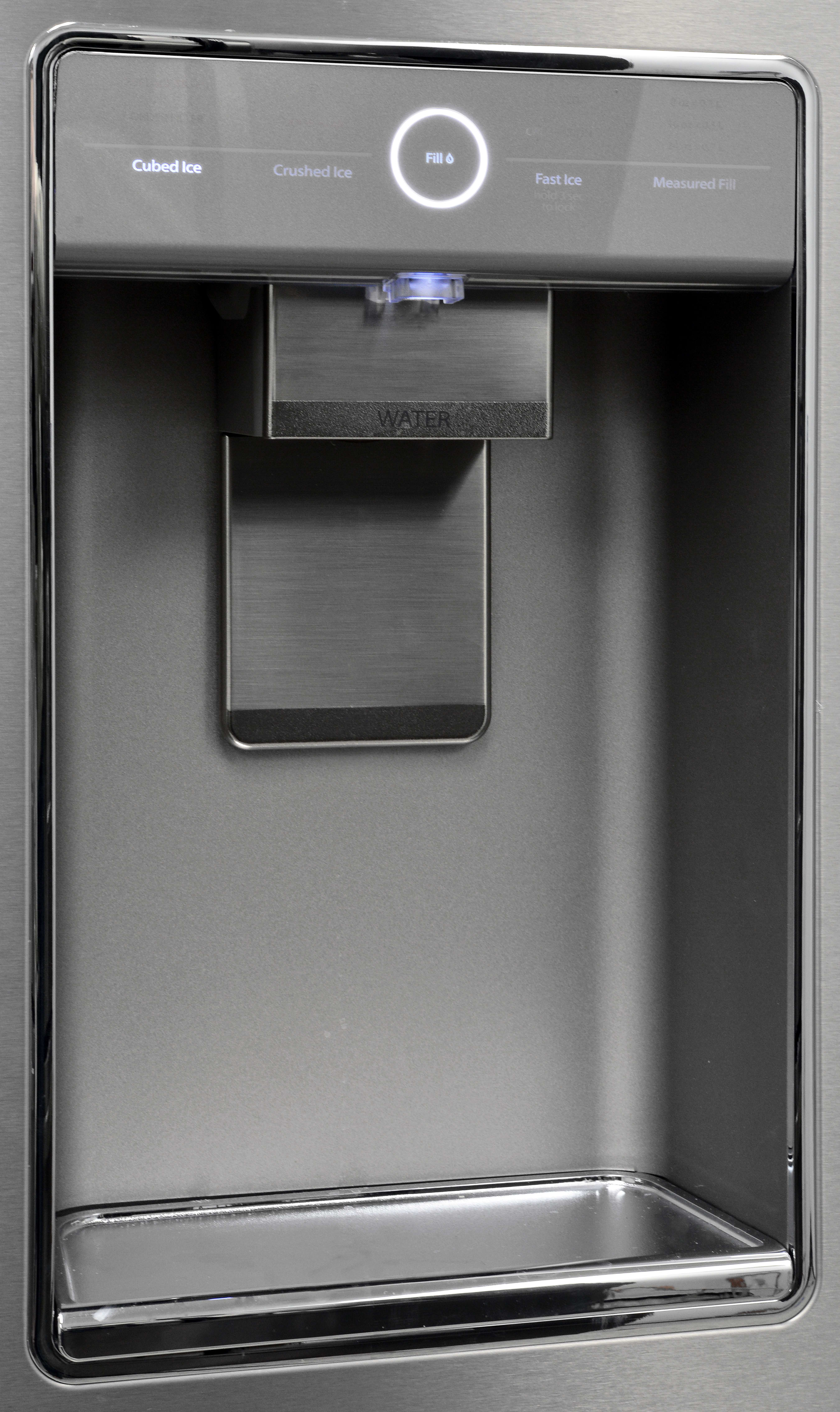 The minimalist dispenser and the applicable controls are the only thing breaking up the stainless exterior.