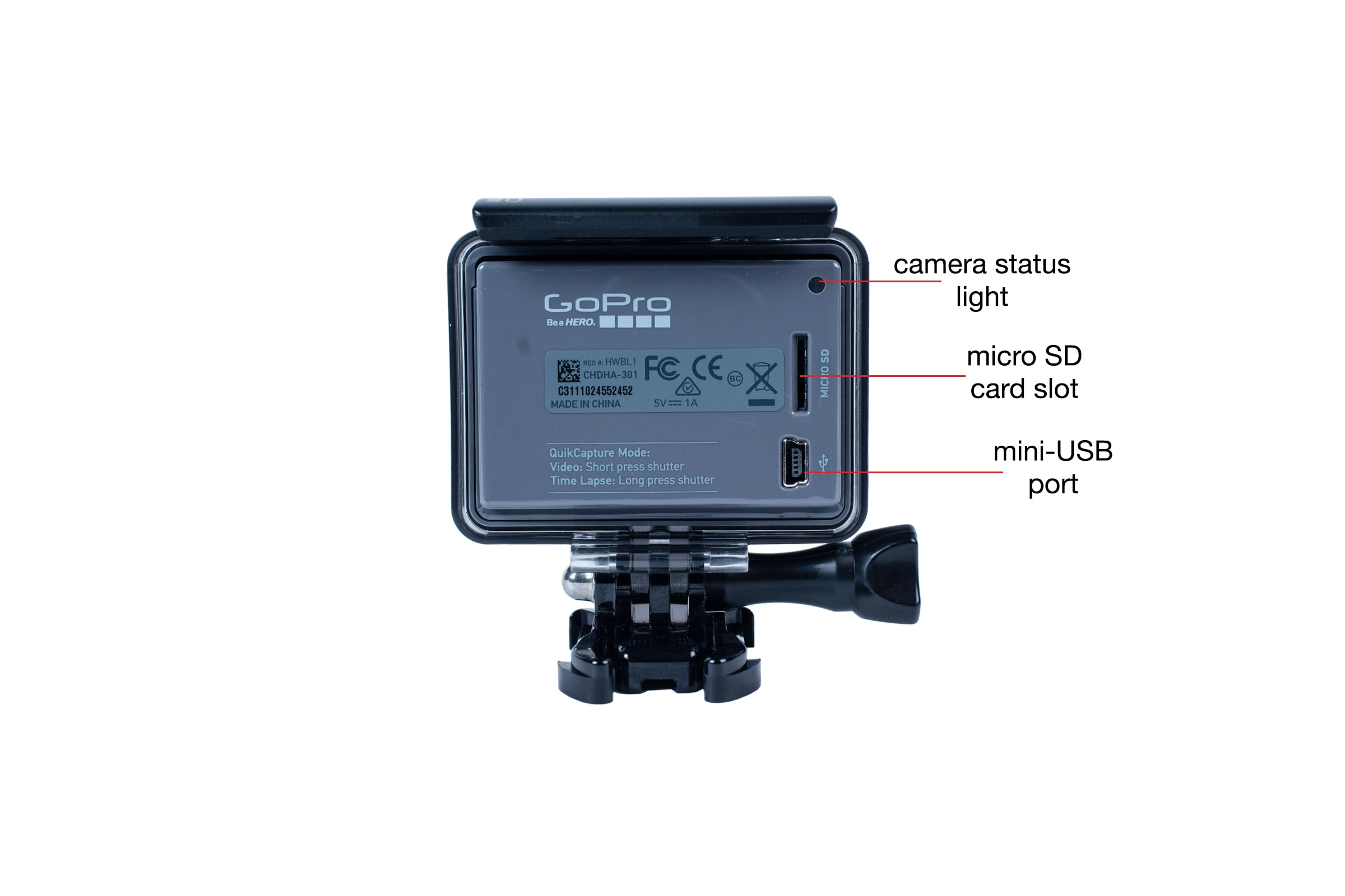 Rear view of the GoPro Hero (2014)