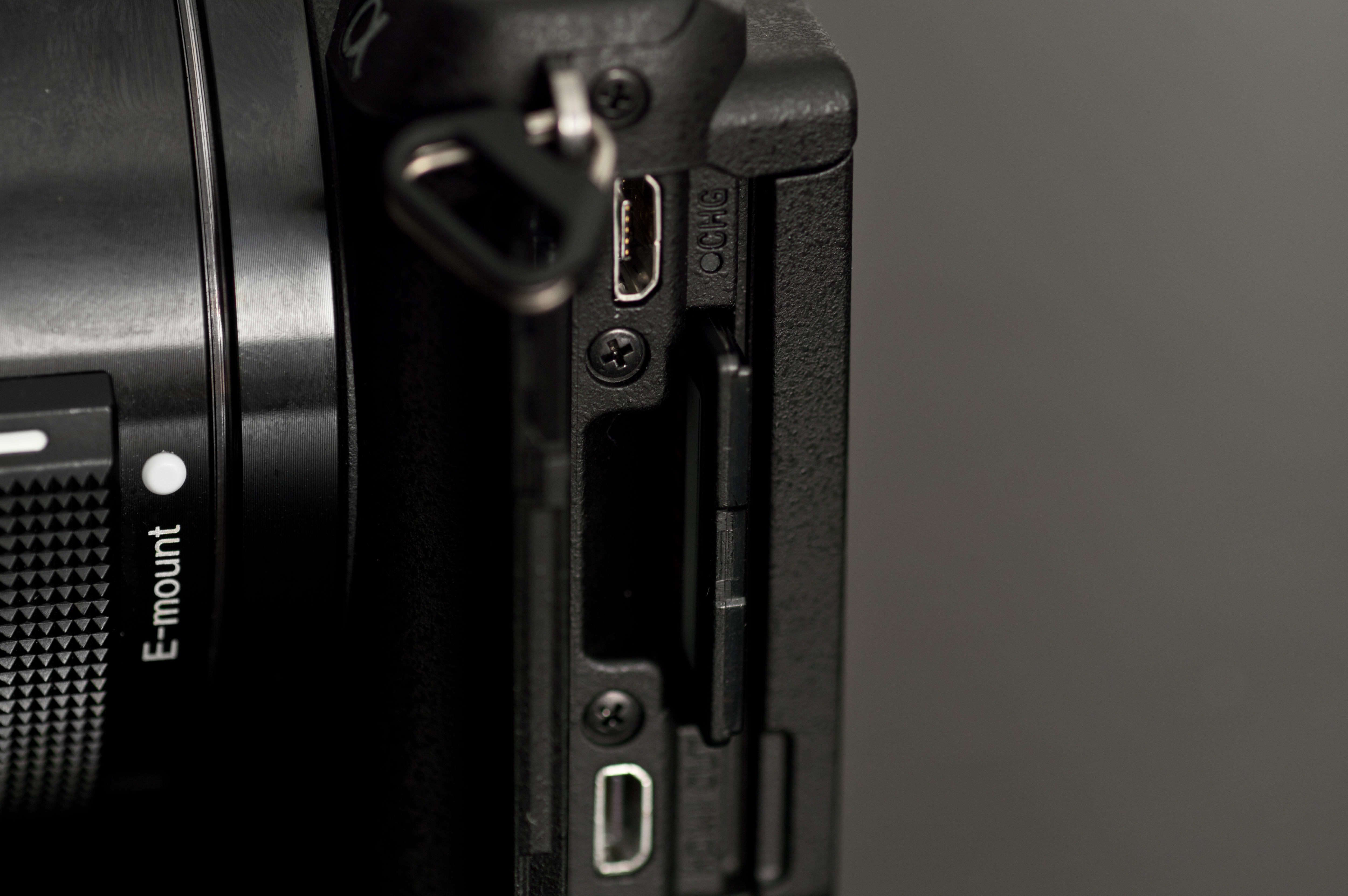 A shot of the HDMI, USB, and SD card slot on the A5100.