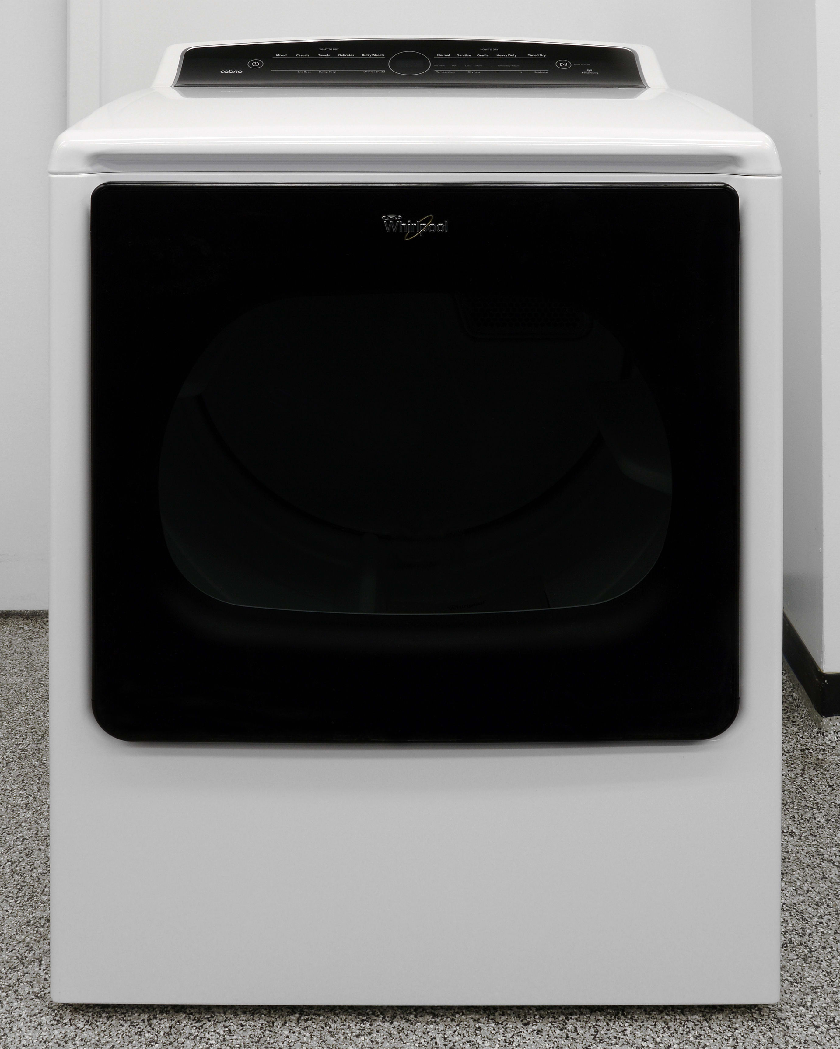The translucent door breaks up the visual monotony common to basic, white dryers similar to the Whirlpool Cabrio WED8000DW.