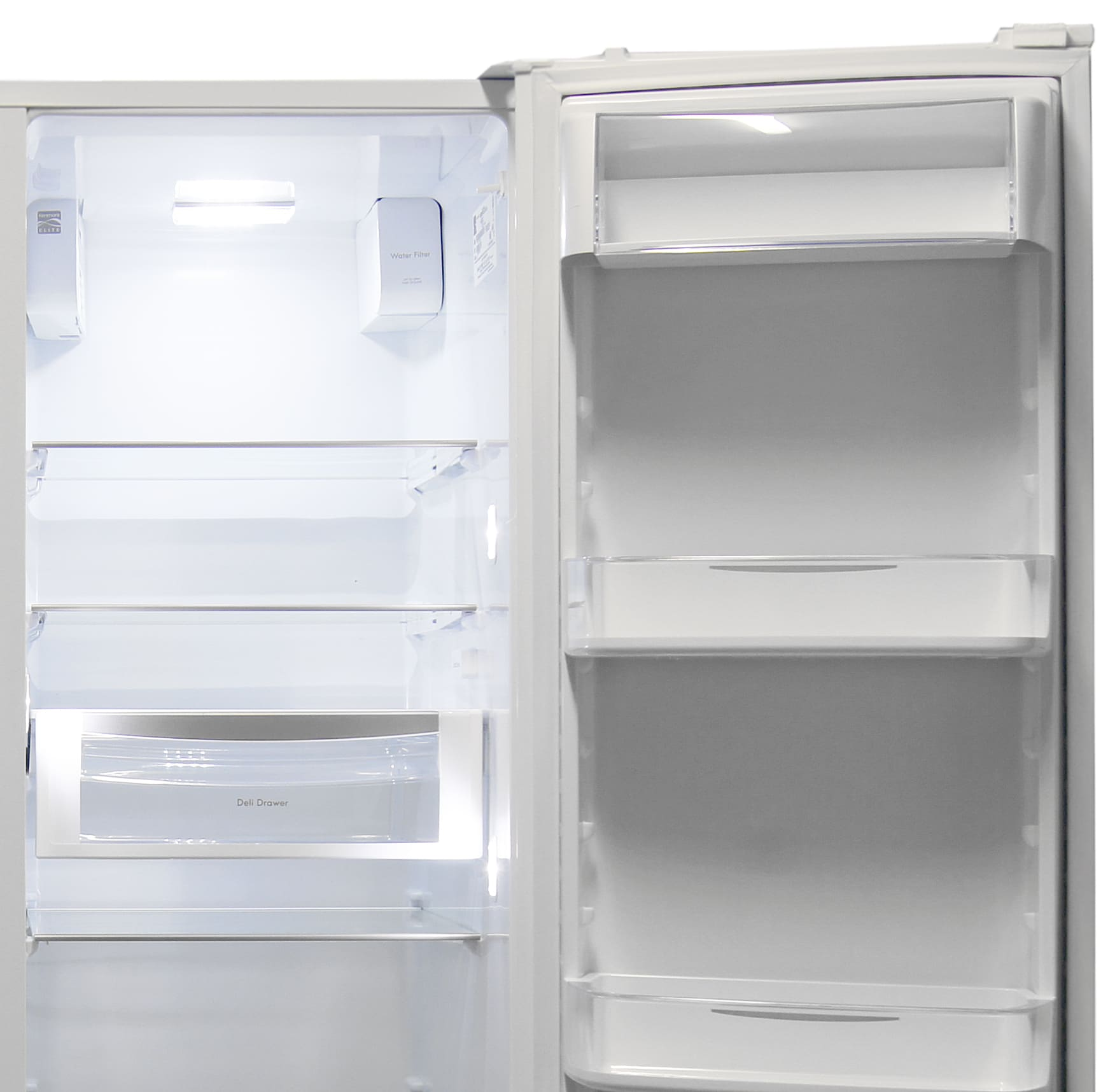 The Kenmore Elite 51162's upper portion of the fridge has both shelves and a deli drawer, as well as gallon-sized door storage.