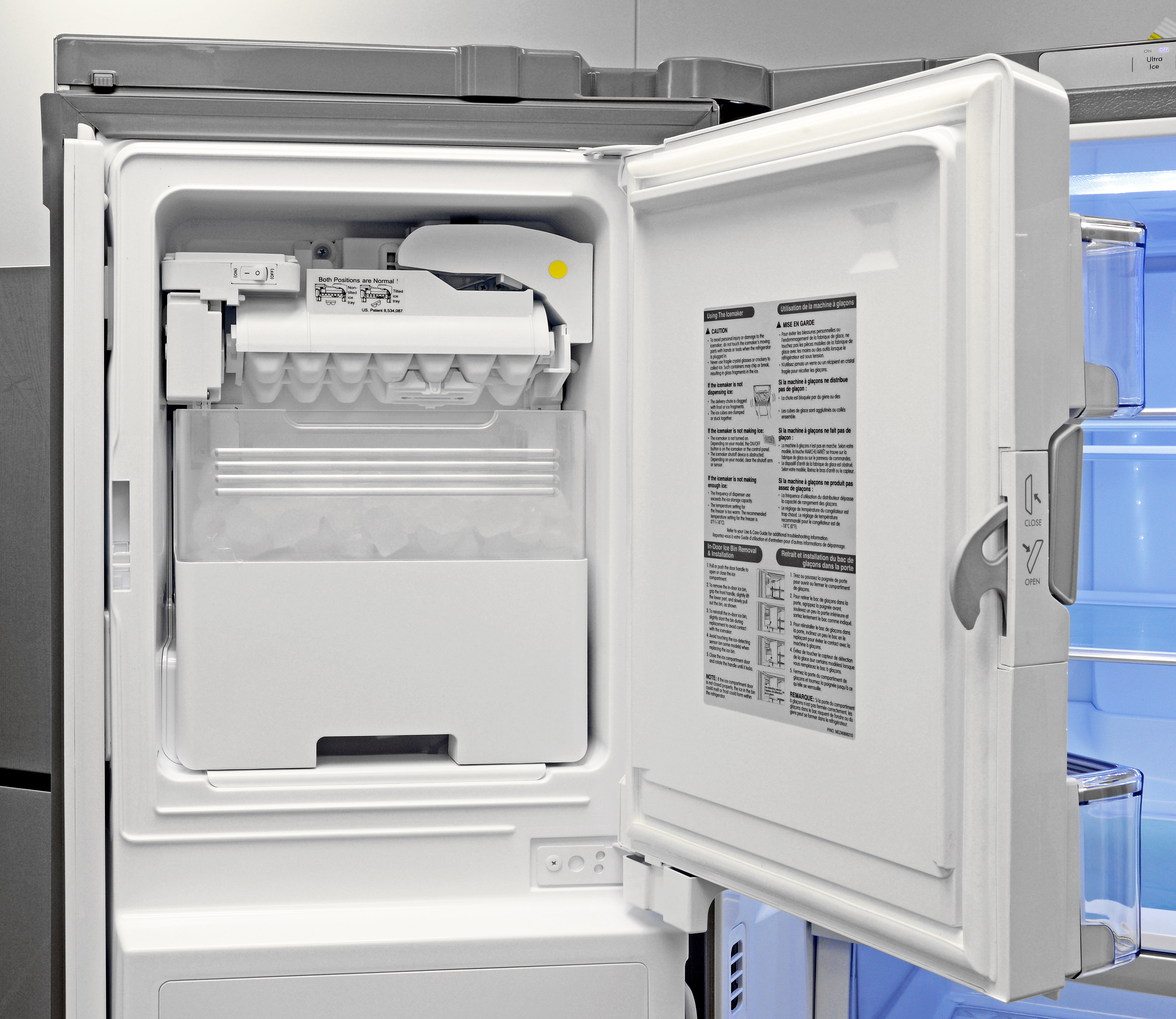 The Kenmore Elite 72483's door-mounted icemaker creates plenty of cubes, and is very easy to remove when you need bulk ice.