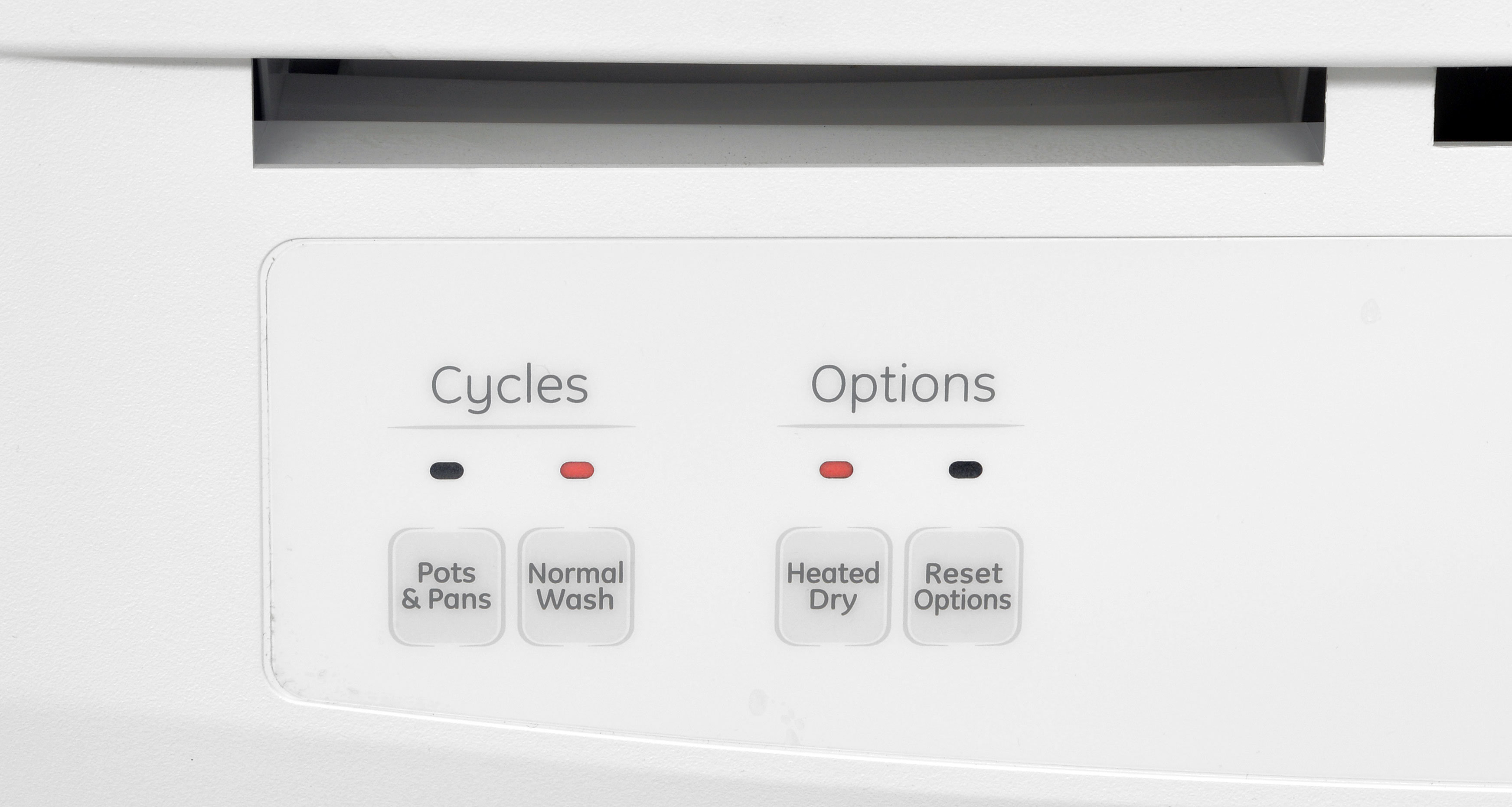 The GE GSC3500DWW's analog controls let you switch between just two cycles, with the option of a Heated Dry serving as the only extra.