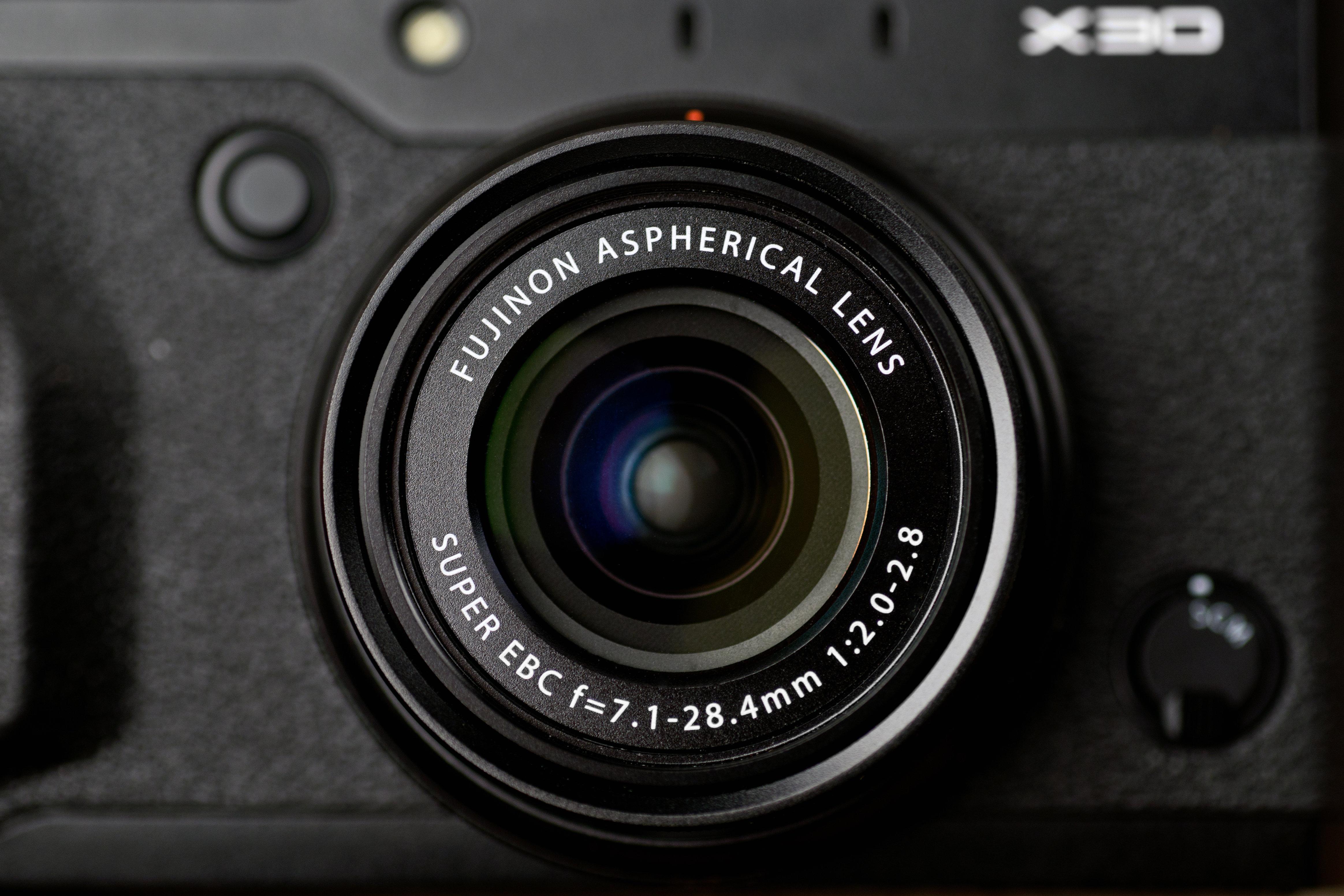 A photo of the Fujifilm X30's lens.