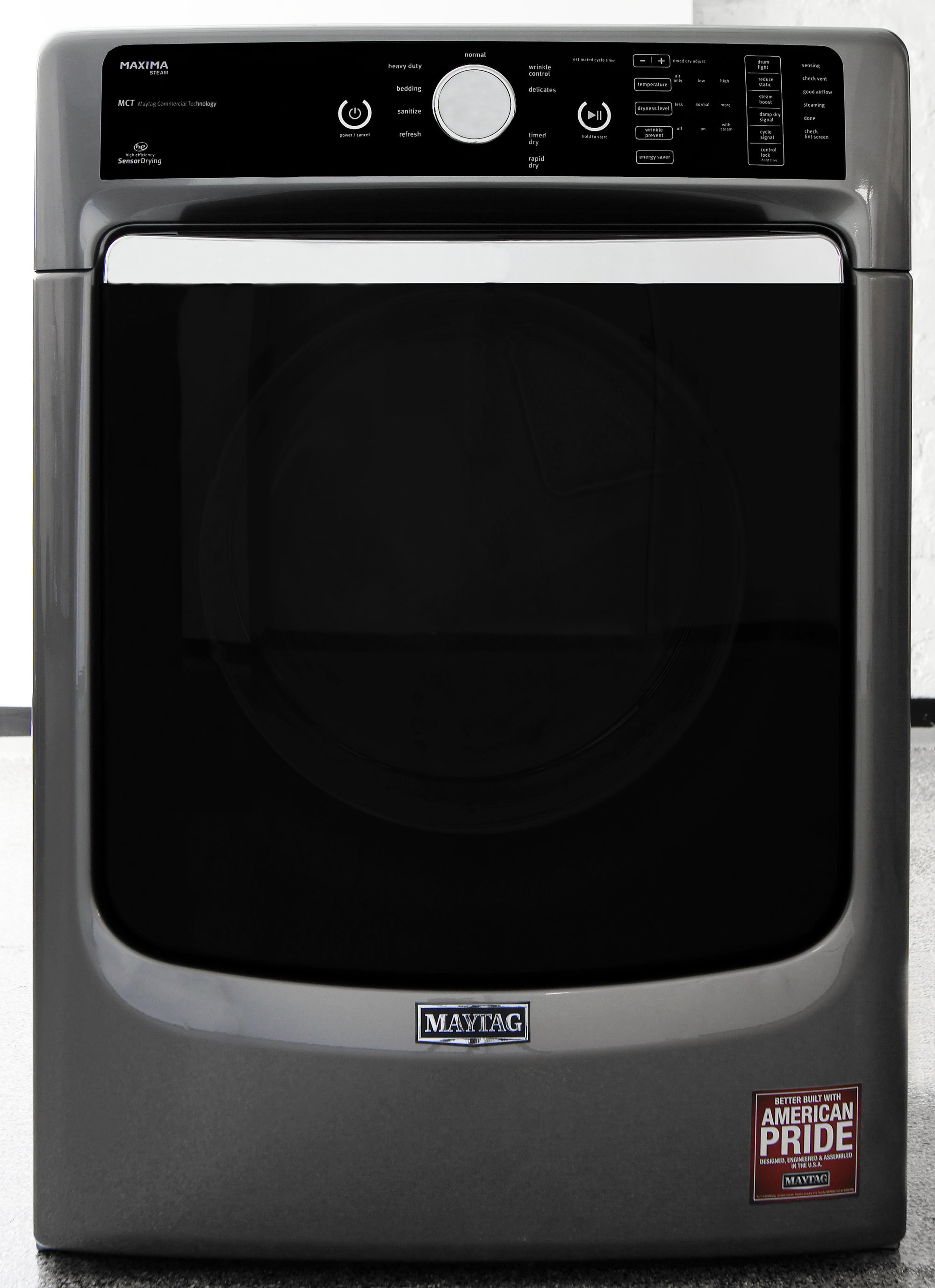 The Maxima MED8100DC dryer has what Maytag calls a Metallic Slate finish.