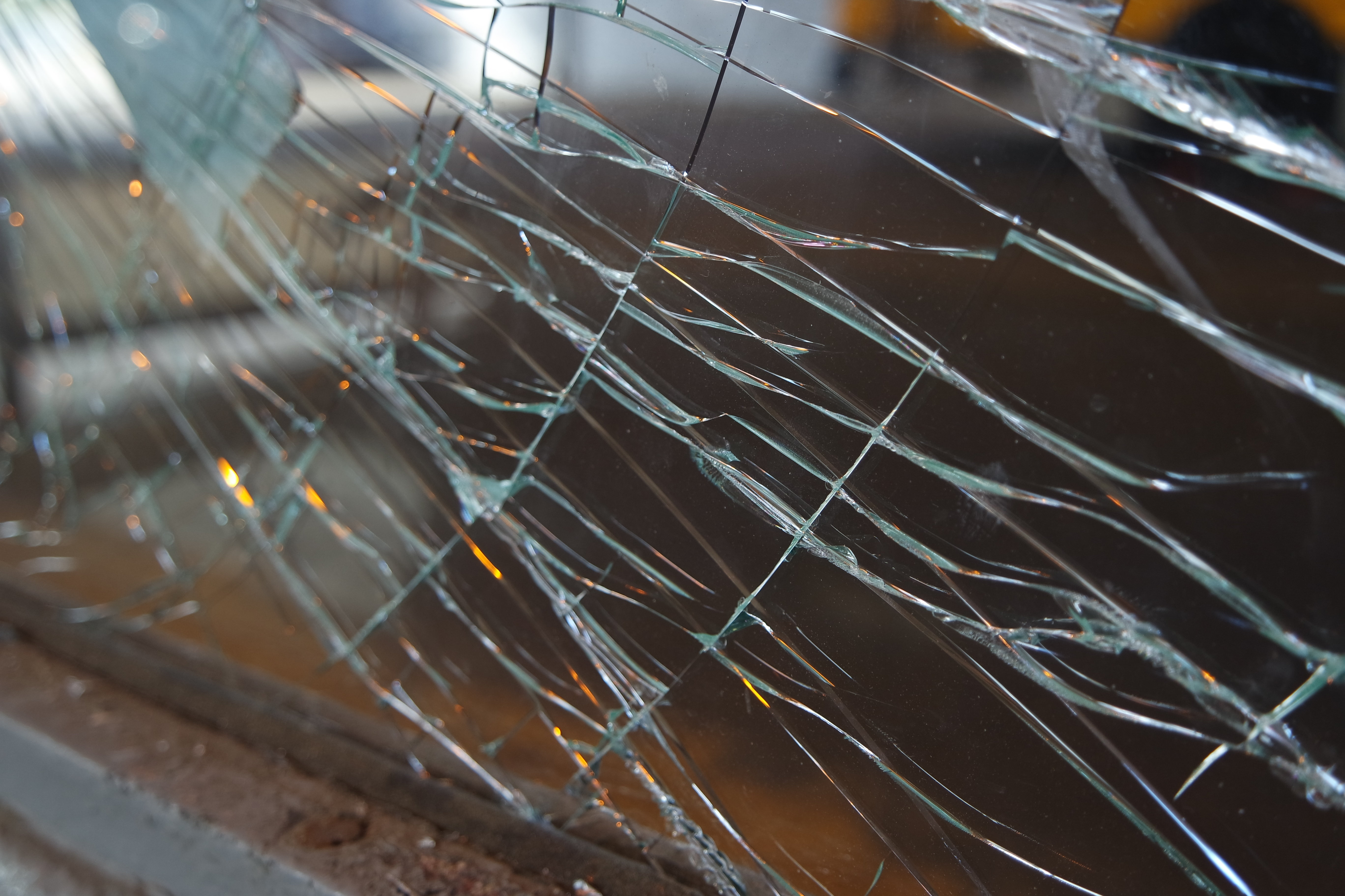 A sample photo of a broken window shot by the Samsung NX3000.