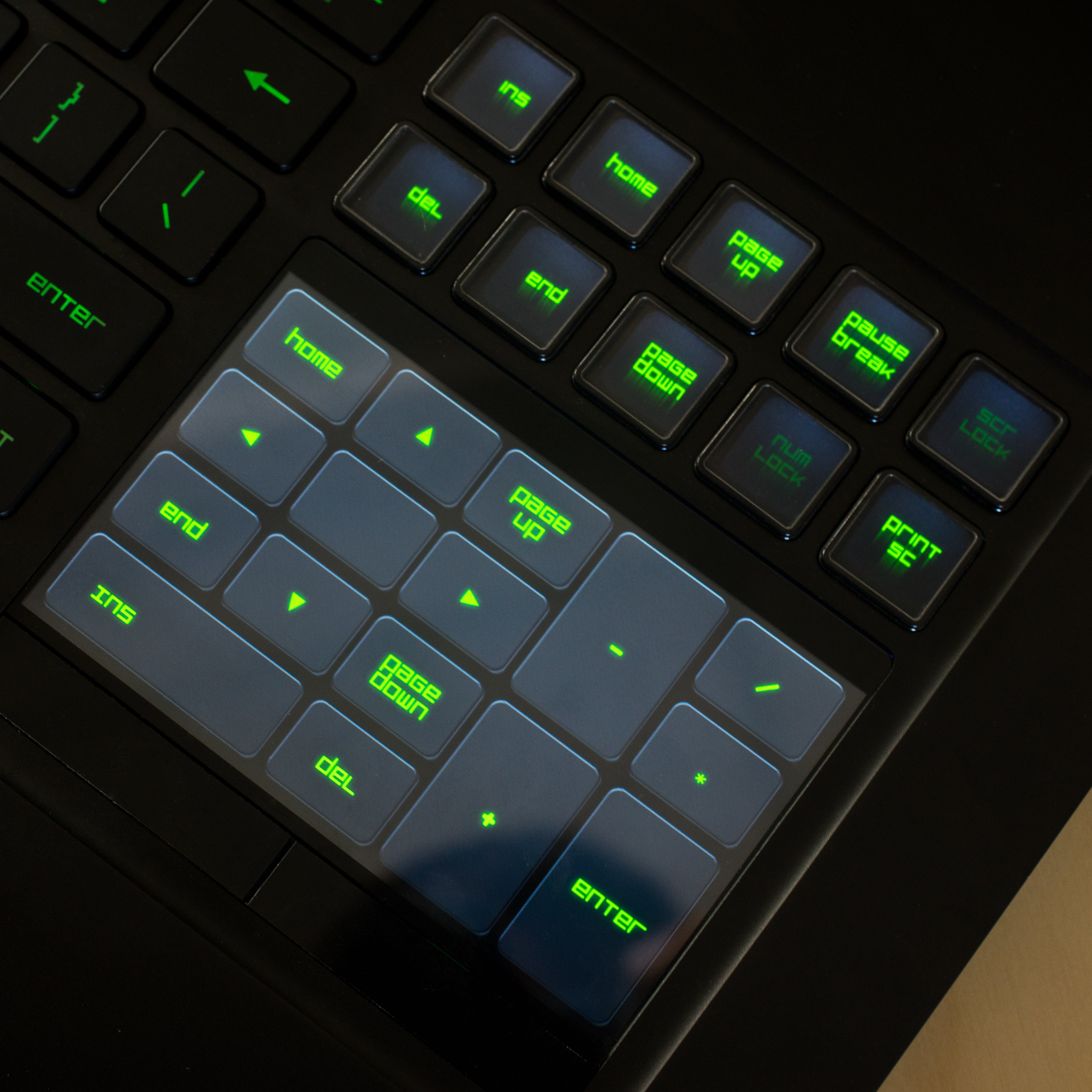 A close-up of the Razer Blade Pro's touchpad used as a number pad.