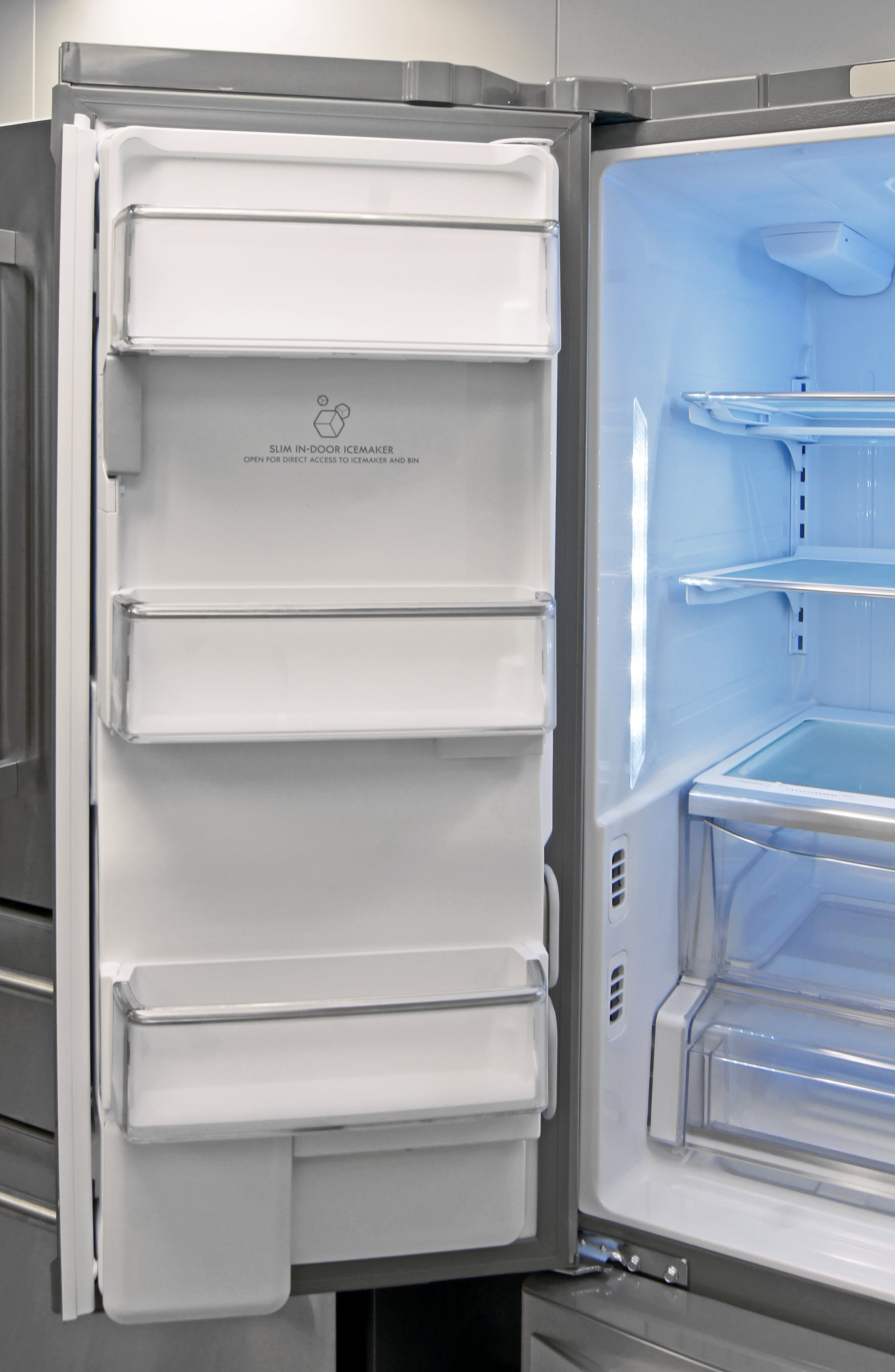The Kenmore Elite 74033's left door holds some shallow shelves for supplemental storage.