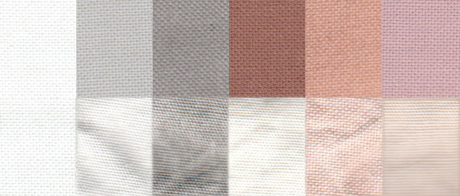 An example of a before and after test stain results using the Normal cycle. From left to right: control, sweat, dirt, blood, cocoa, and red wine.