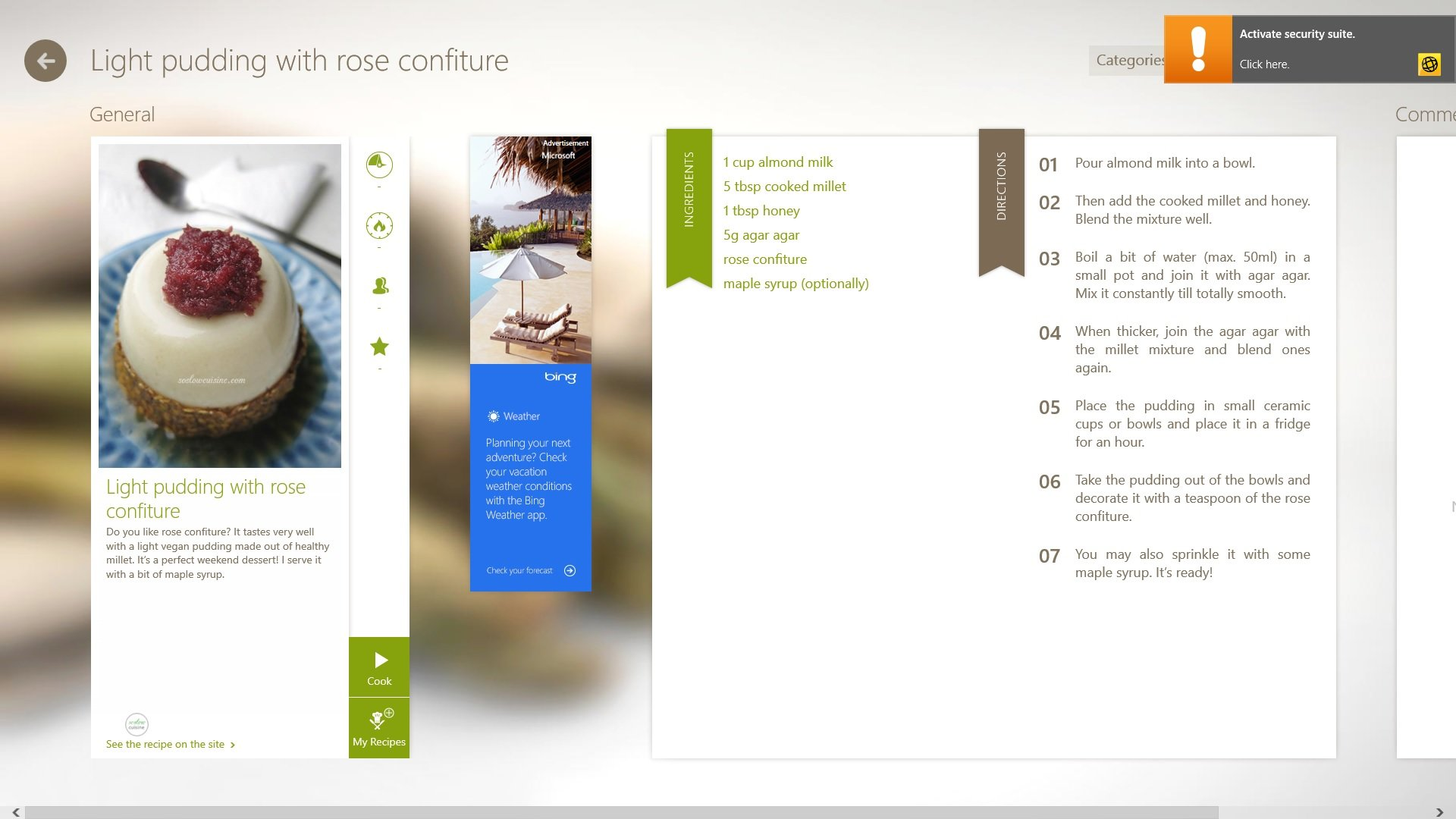 A screenshot of the Cookbook app.