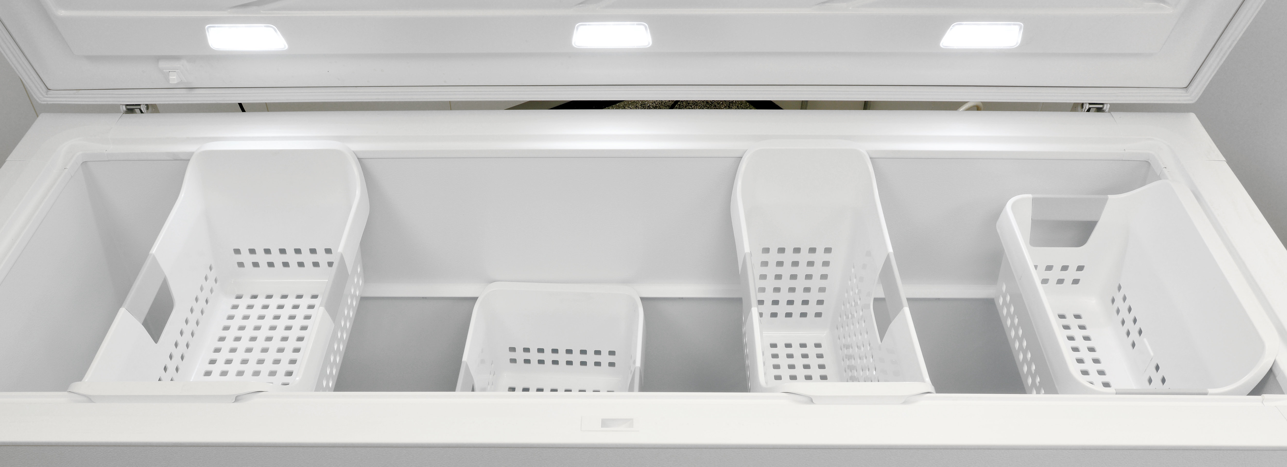 A collection of four adjustable buckets offer flexible organization to make the giant Kenmore Elite 17202 freezer manageable.