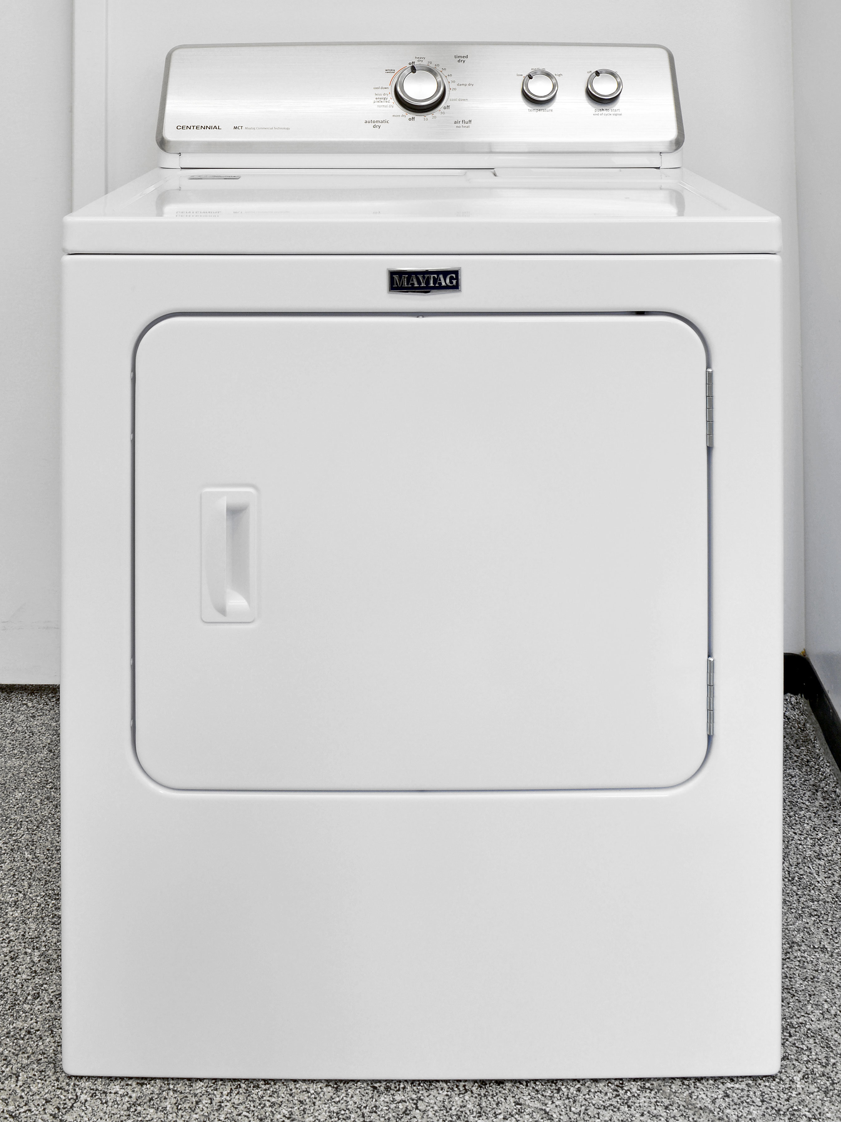 The Maytag Centennial MEDC215EW is a basic, budget-friendly white good appliance.
