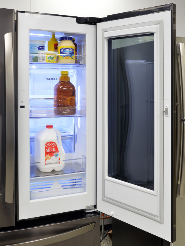 is the lg instaview see through fridge the future we have the answer refrigerators. Black Bedroom Furniture Sets. Home Design Ideas