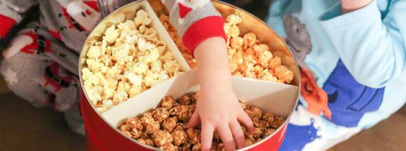 Holiday popcorn tin hero