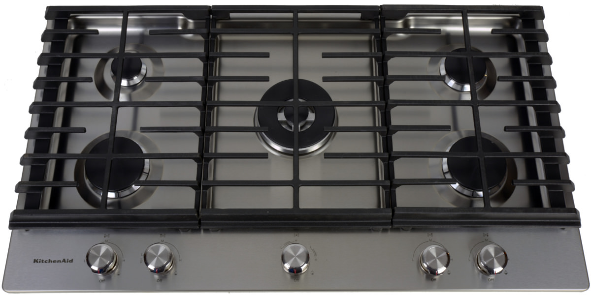The KitchenAid KCGS556ESS 36-inch gas cooktop.