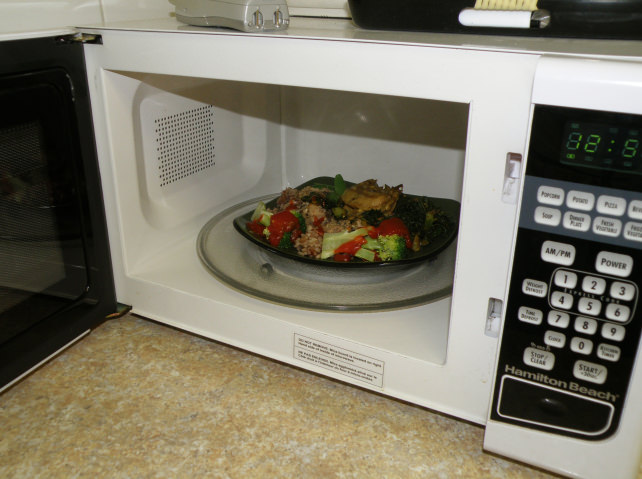 TV dinner in microwave
