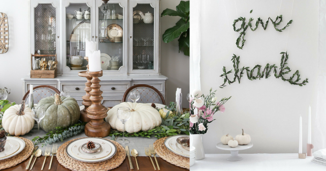 Greenery tablescapes