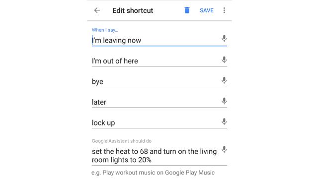 Google Home Shortcut Leaving Home