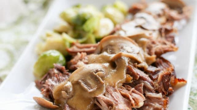 Low Carb Pork Roast with Mushroom Gravy