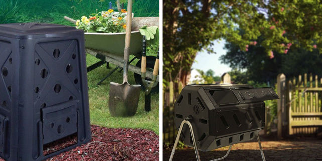 Redmon Green Culture 65-gallon composter and Yimby Tumbler composter