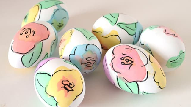 Floral Watercolor Easter Eggs